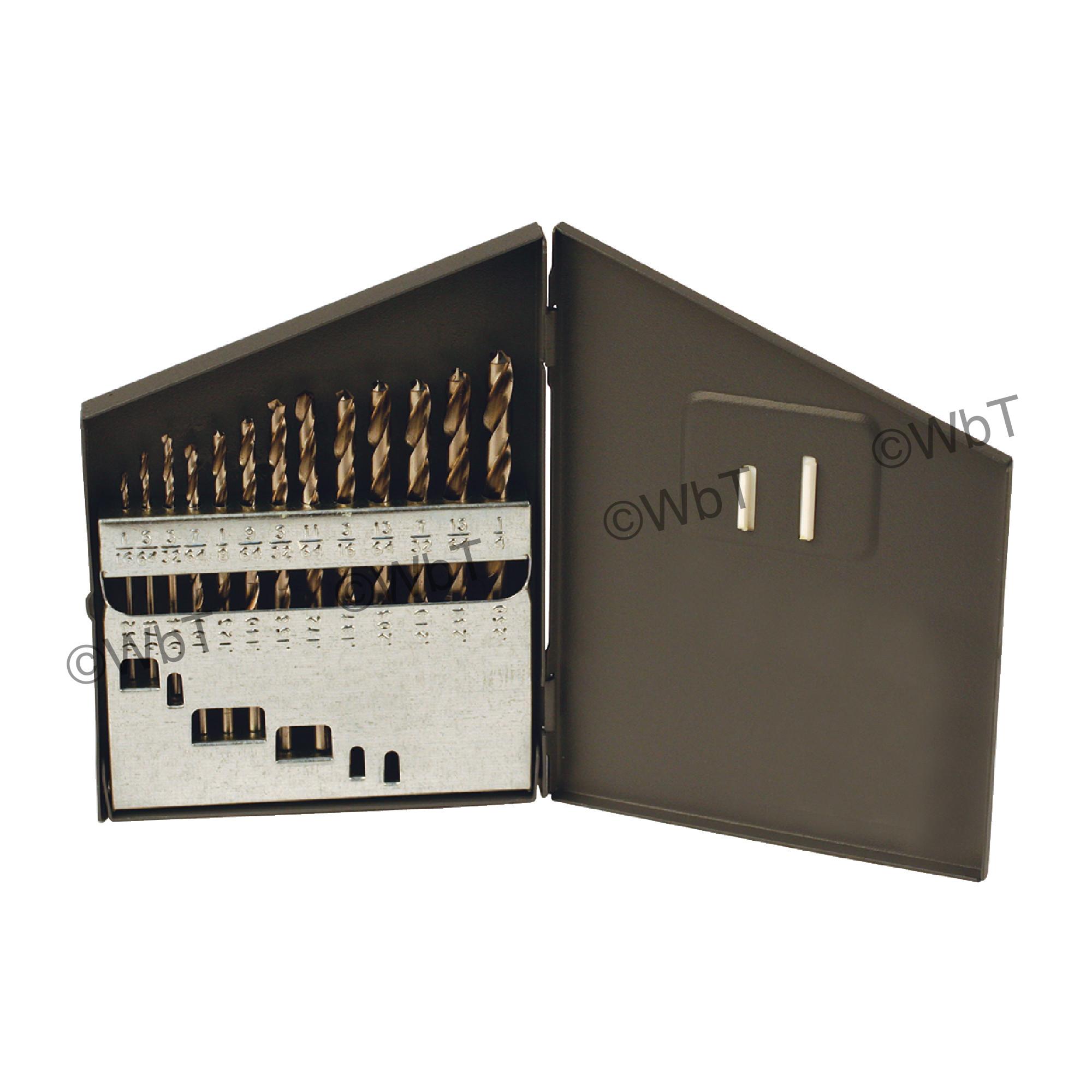 """1/16"""" - 1/4"""" x 64ths Jobbers Length Twist Drill Set"""