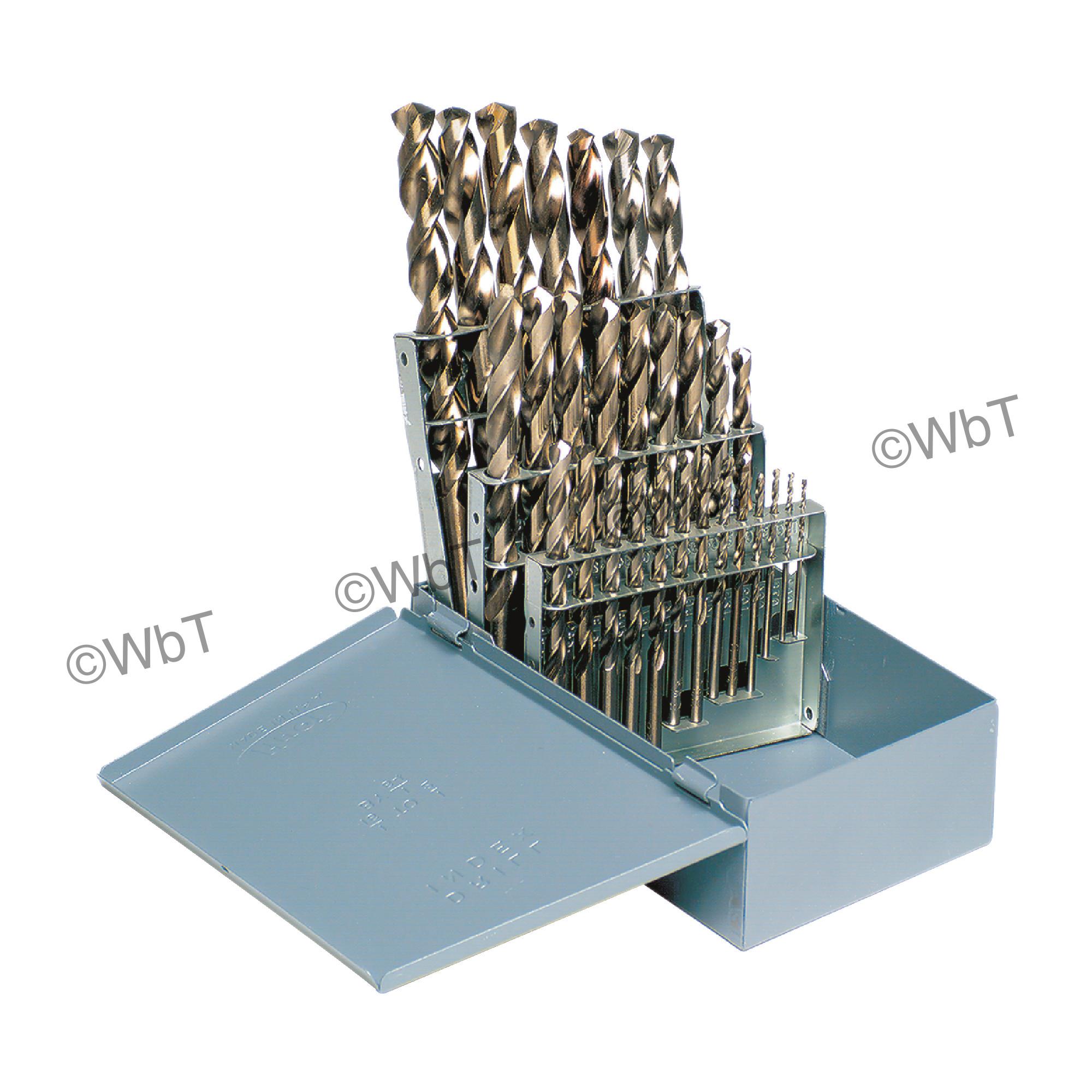 """1/16"""" - 1/2"""" x 64ths Cobalt Jobbers Length Twist Drill Set"""