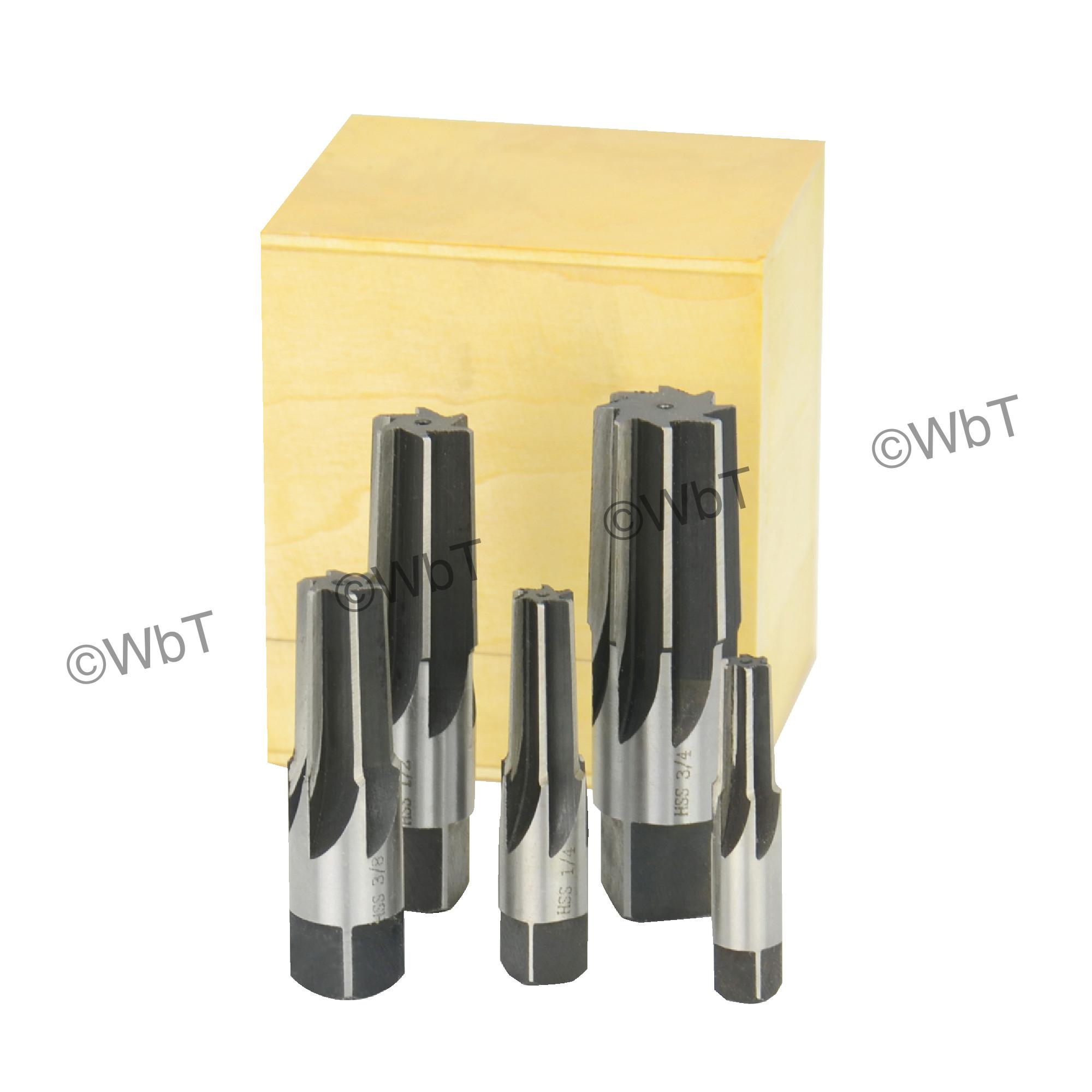High Speed Steel Straight Flute NPT Taper Pipe Reamer Set