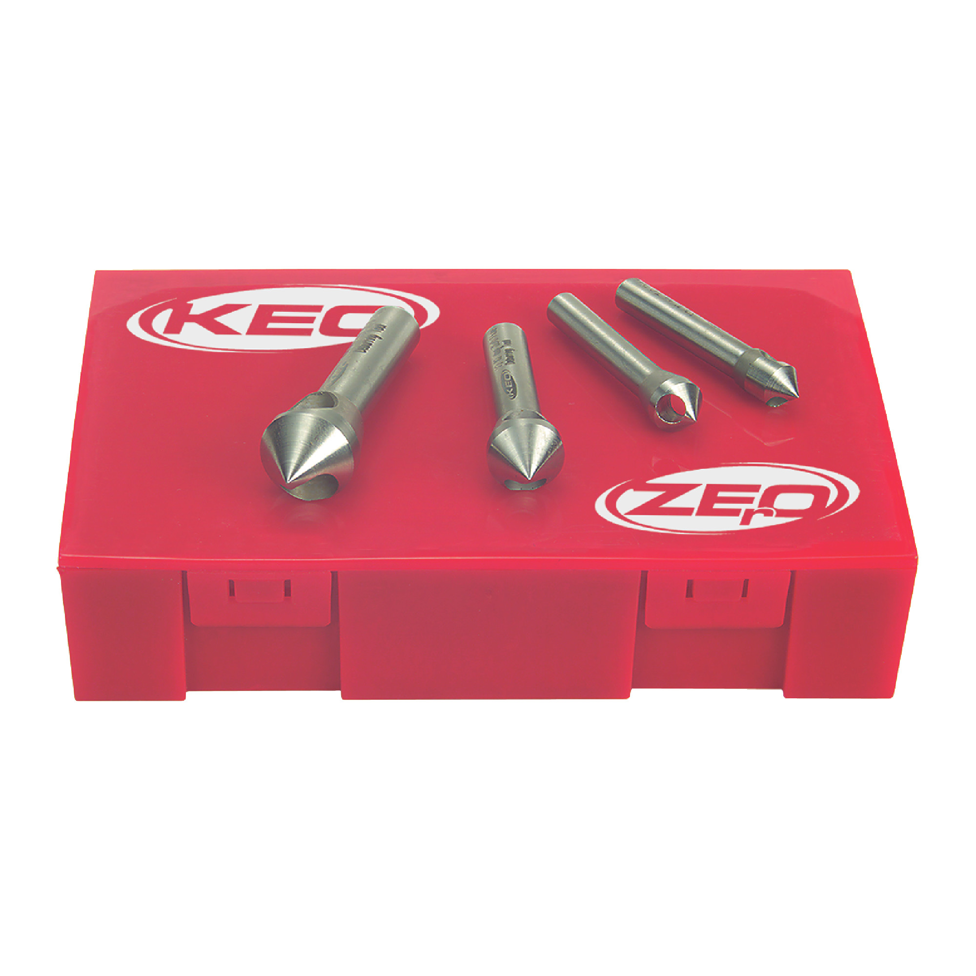 """KEO 0 Flute 4 Piece 5/16"""" to 5/8"""" M35 5% Cobalt 60° Included Angle Countersink Set"""