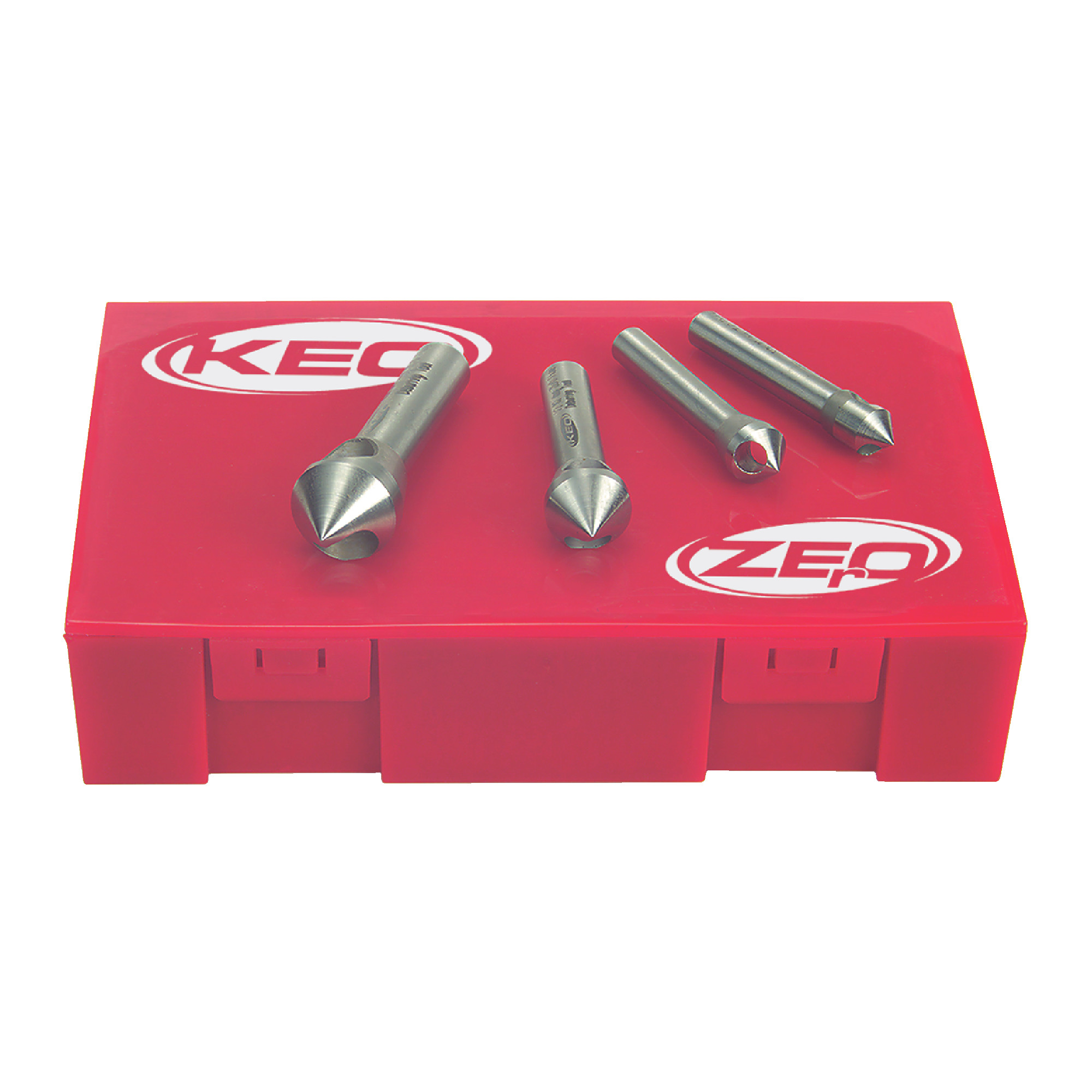"""KEO 0 Flute 4 Piece 5/16"""" to 5/8"""" M35 5% Cobalt 82° Included Angle Countersink Set"""