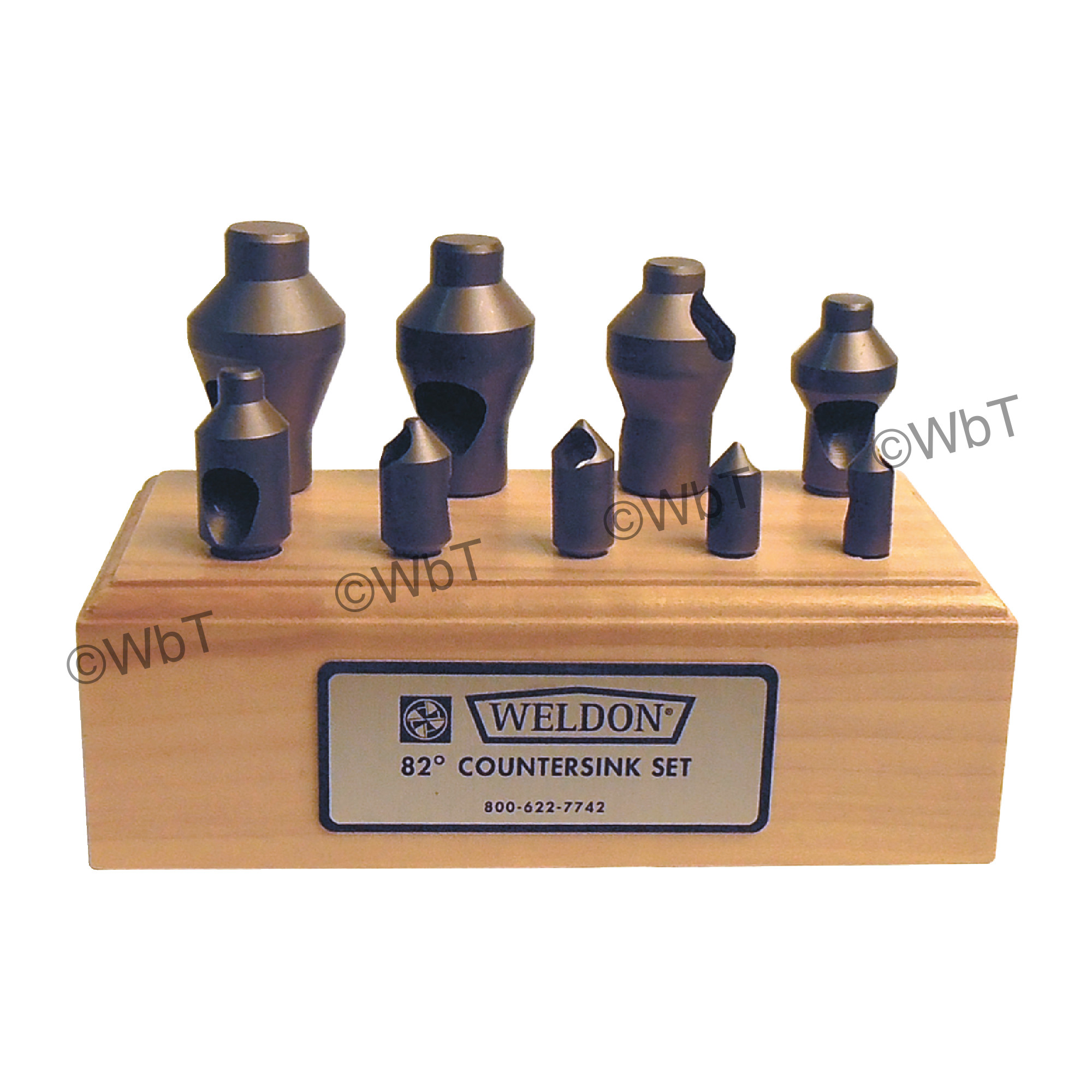 WELDON 0 Flute 9 Piece  High Speed Steel 82° Included Angle Countersink Set