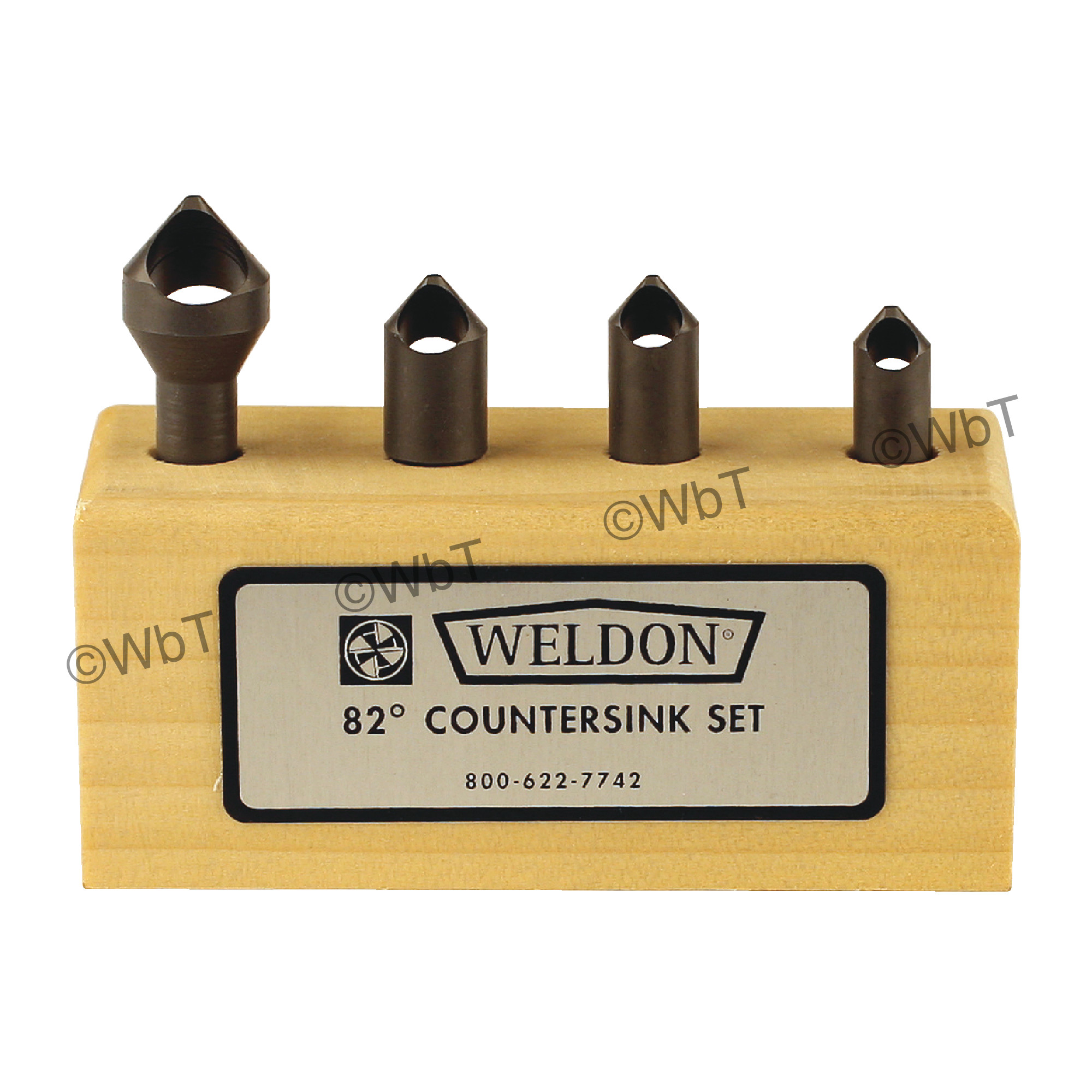 WELDON 0 Flute 4 Piece  High Speed Steel 82° Included Angle Countersink Set