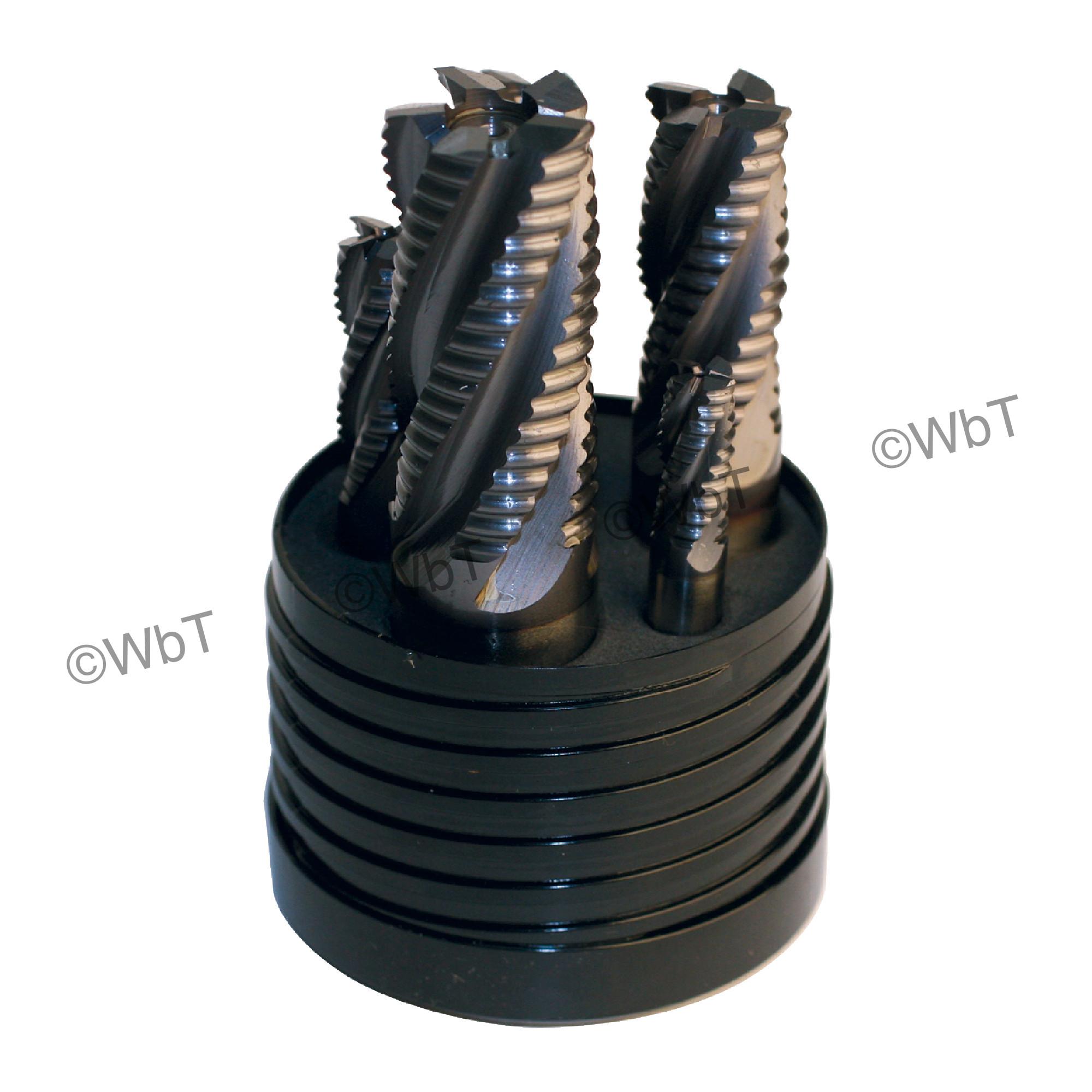 5 Piece M42 Cobalt Roughing Single End Mill Set