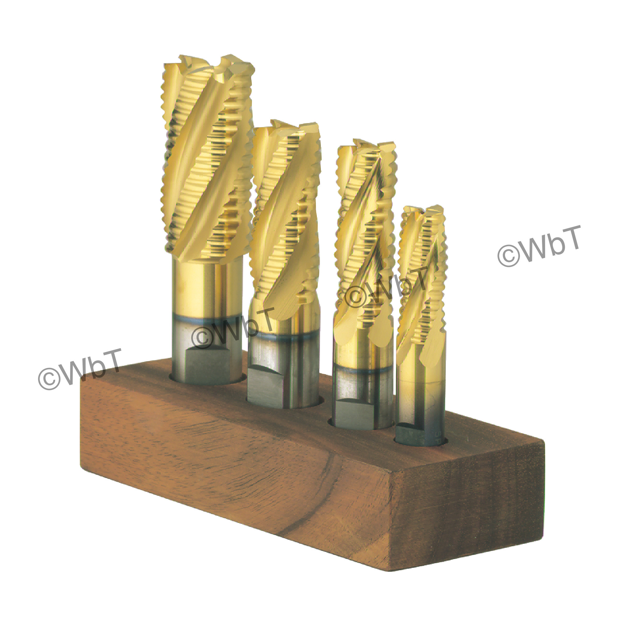 4 Piece M42 Cobalt Coarse Tooth Roughing Single End Mill Set