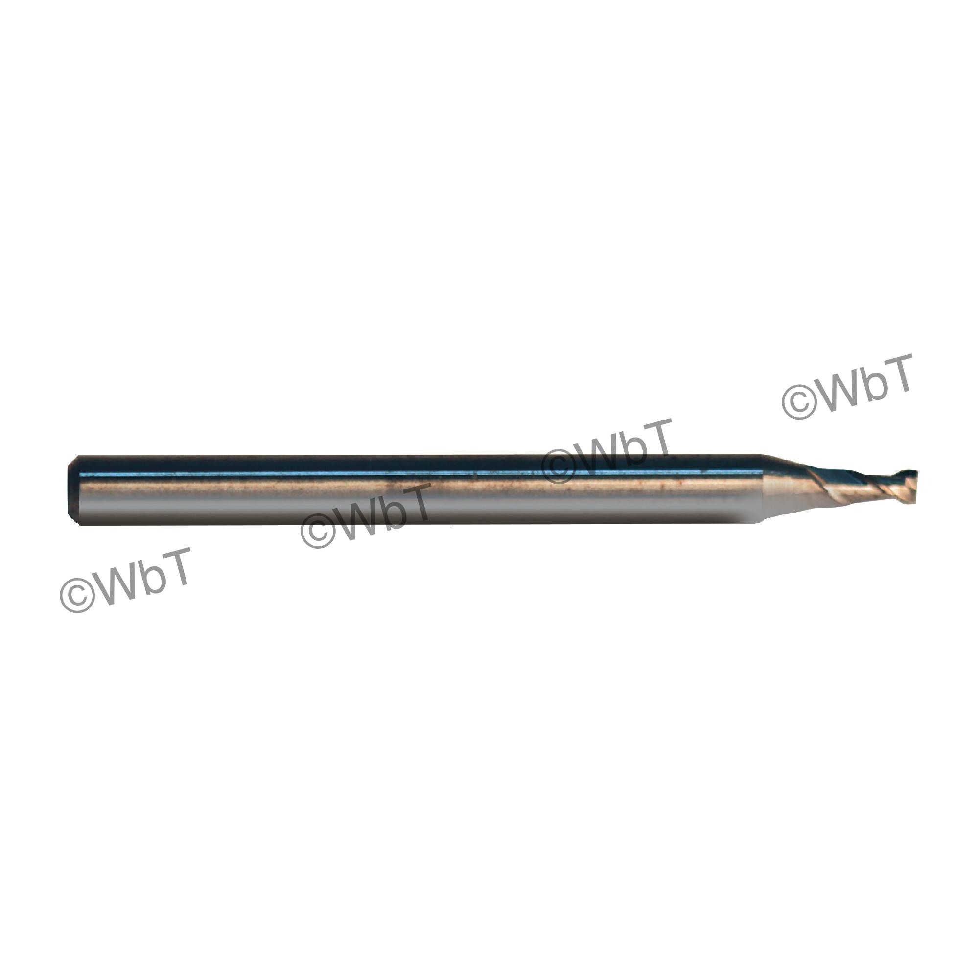 "1/16"" Solid Carbide 10% Cobalt 40° 2 Flute Center Cutting Stub Length Single End Mill"