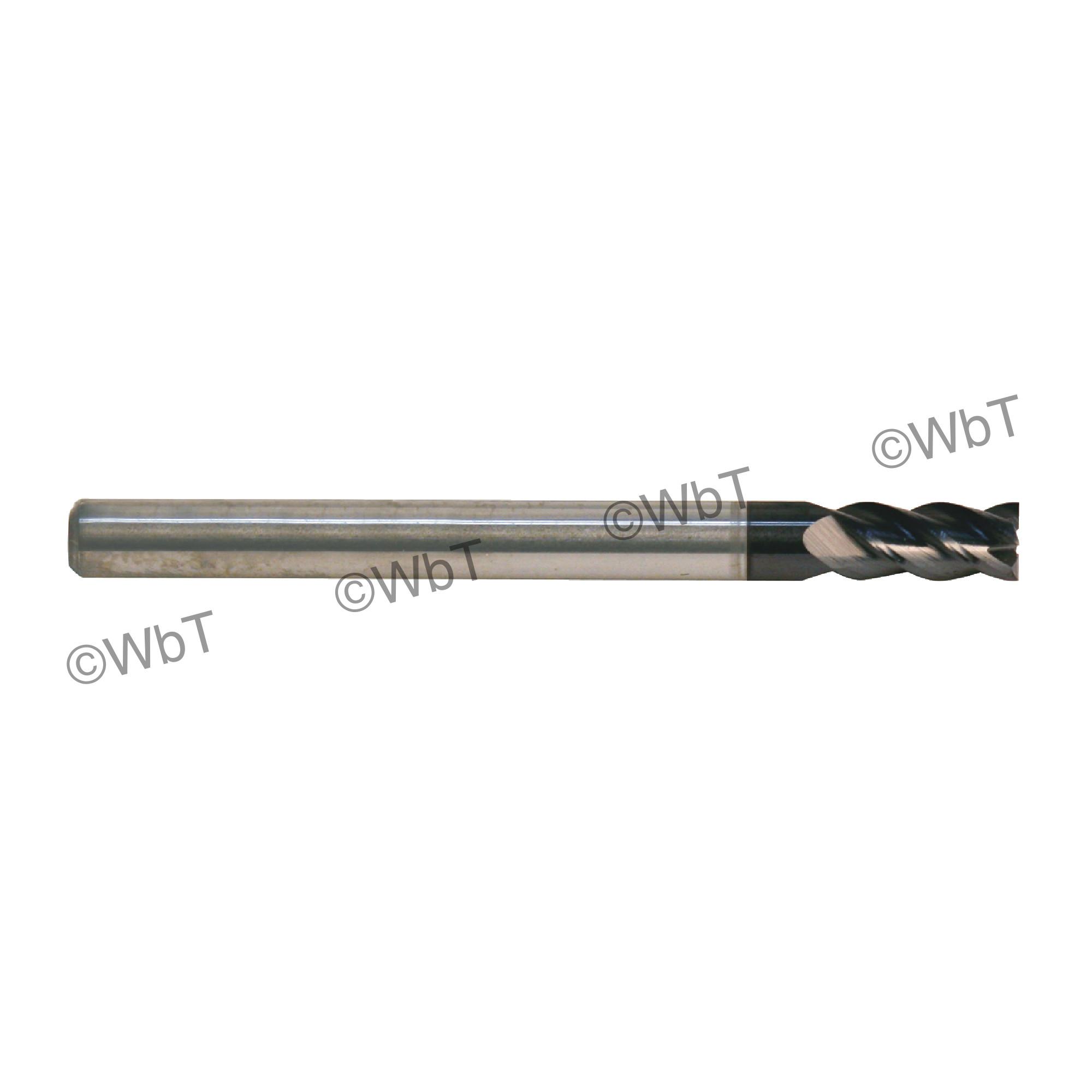 "1/2"" Solid Carbide 10% Cobalt 40° 4 Flute Center Cutting Stub Length Single End Mill"