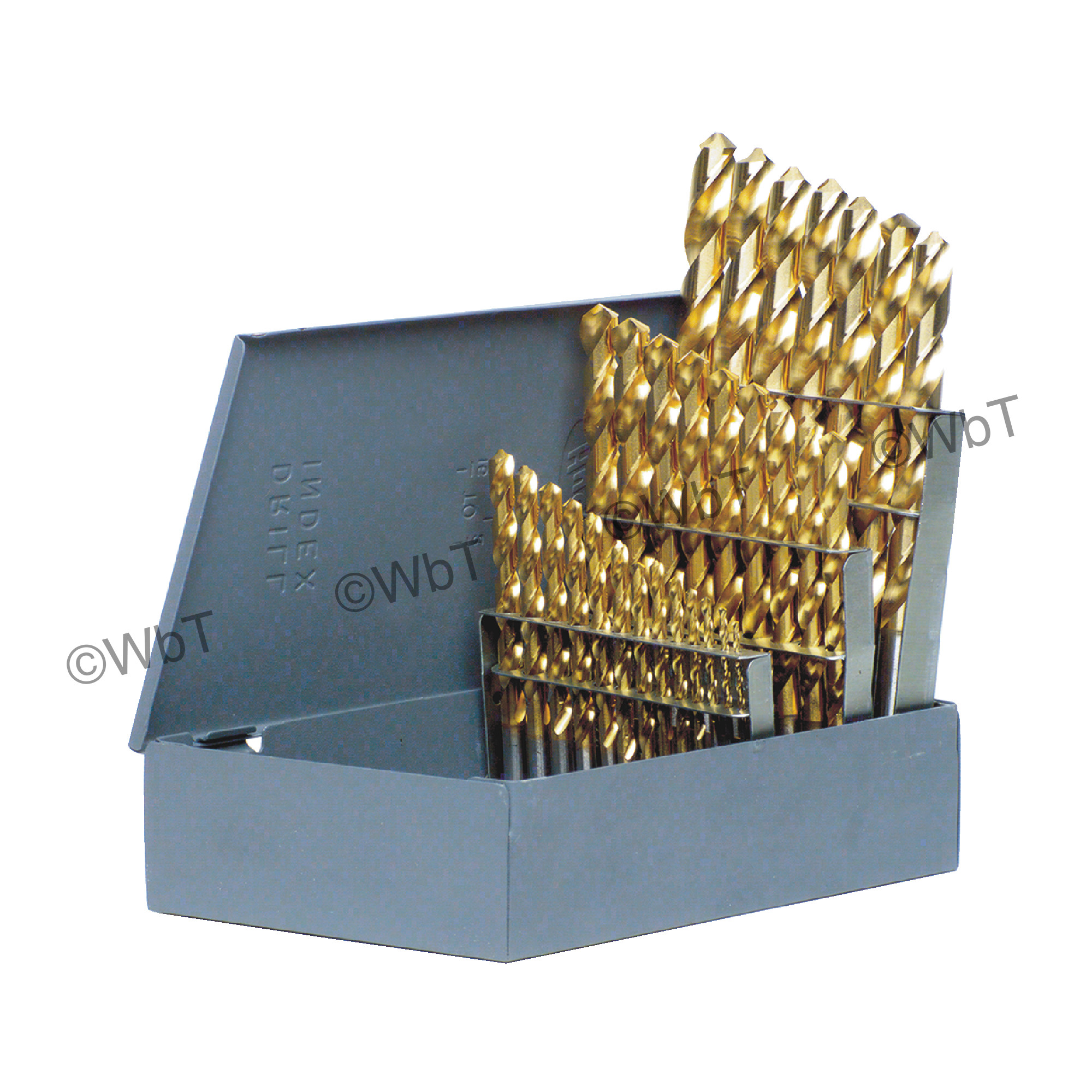 "1/16"" - 1/2"" x 64ths Jobbers Length Twist Drill Set - TIN Coated"