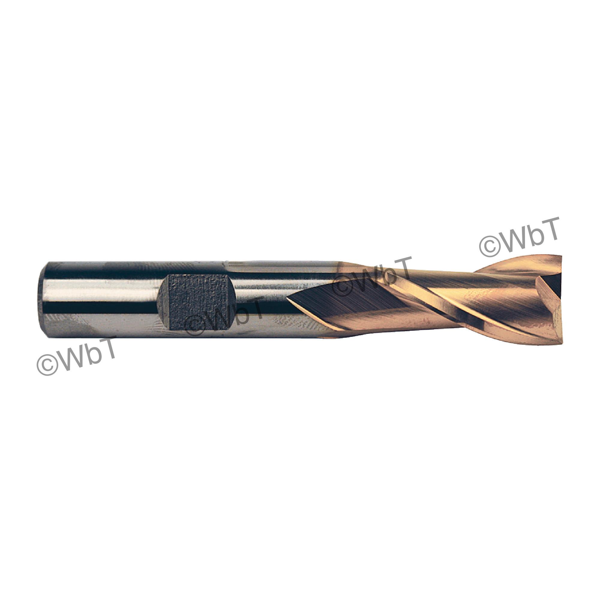 1-1/2 2 Flute High Speed Steel Center Cutting Tin Single End Mill