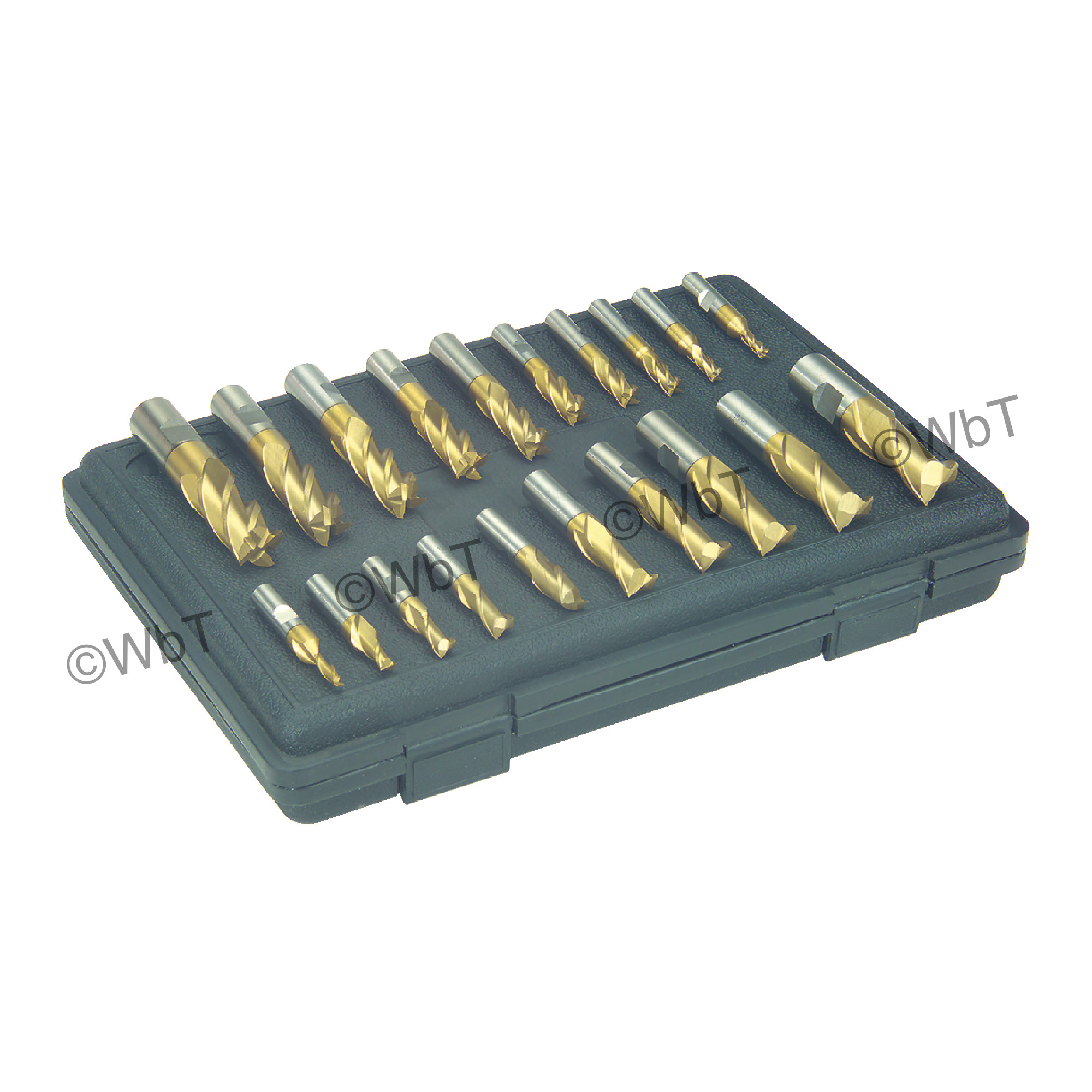 20 Piece High Speed Steel Metric TiN Coated Single End Mill Set