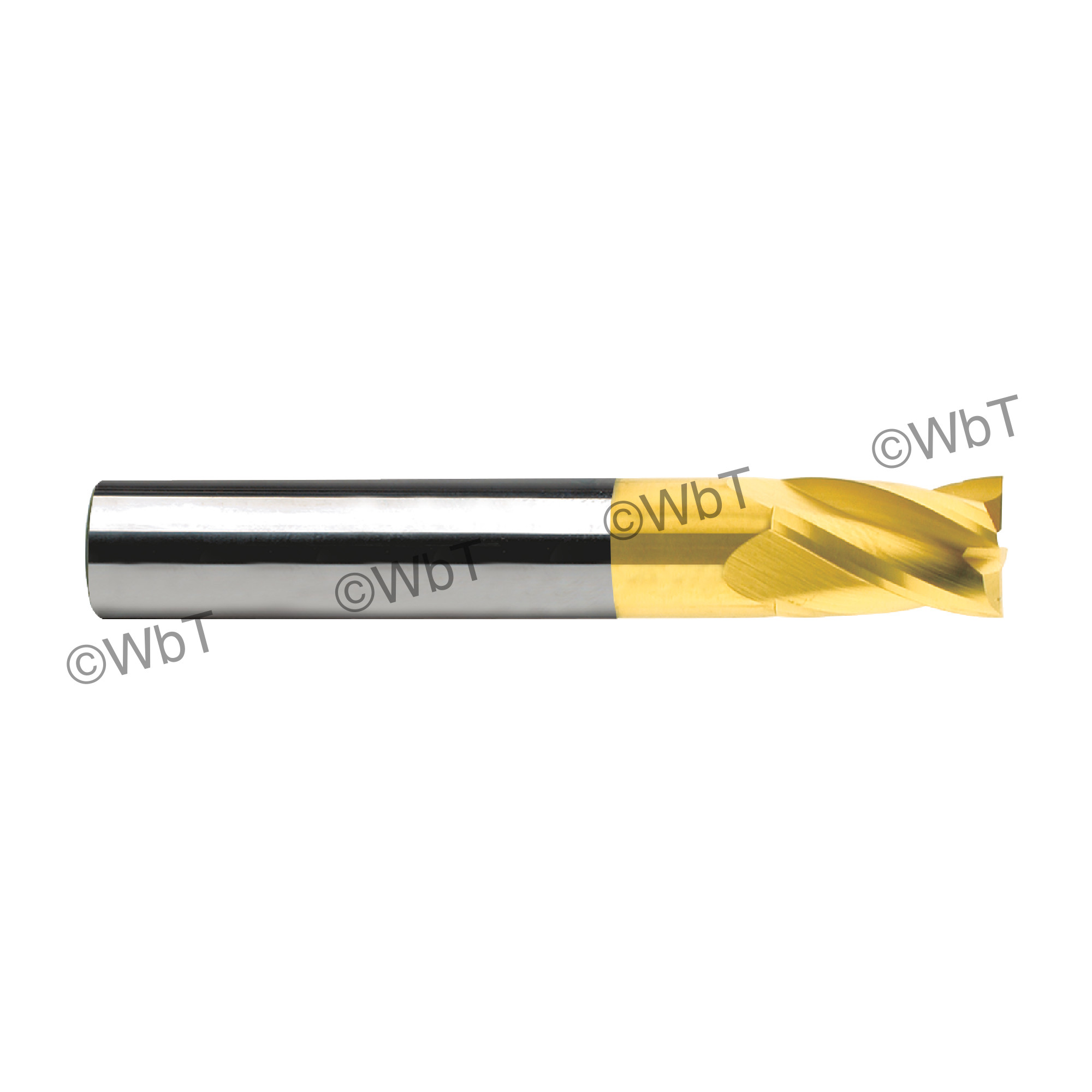 """1/16"""" TiCN Coated Solid Carbide 40° 4 Flute Center Cutting Stub Length Single End Mill"""