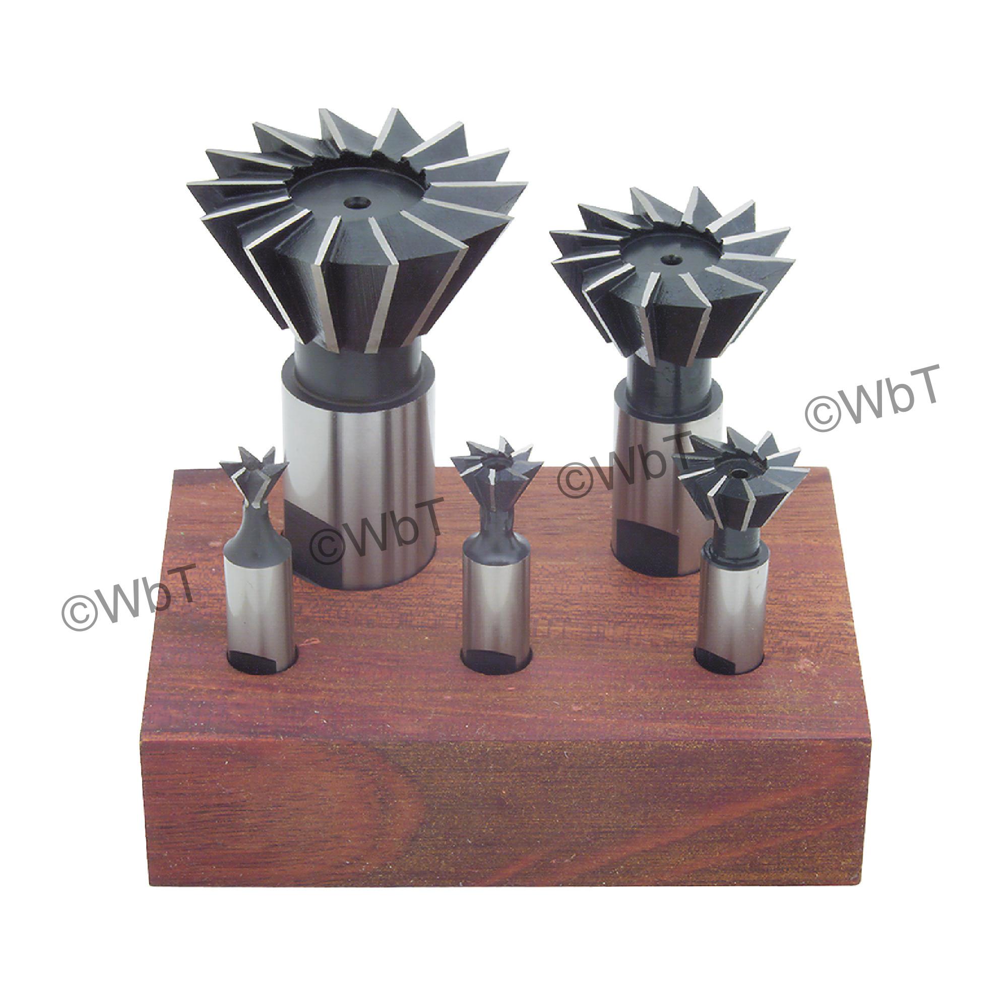 5 Piece High Speed Steel Dovetail Cutter Set