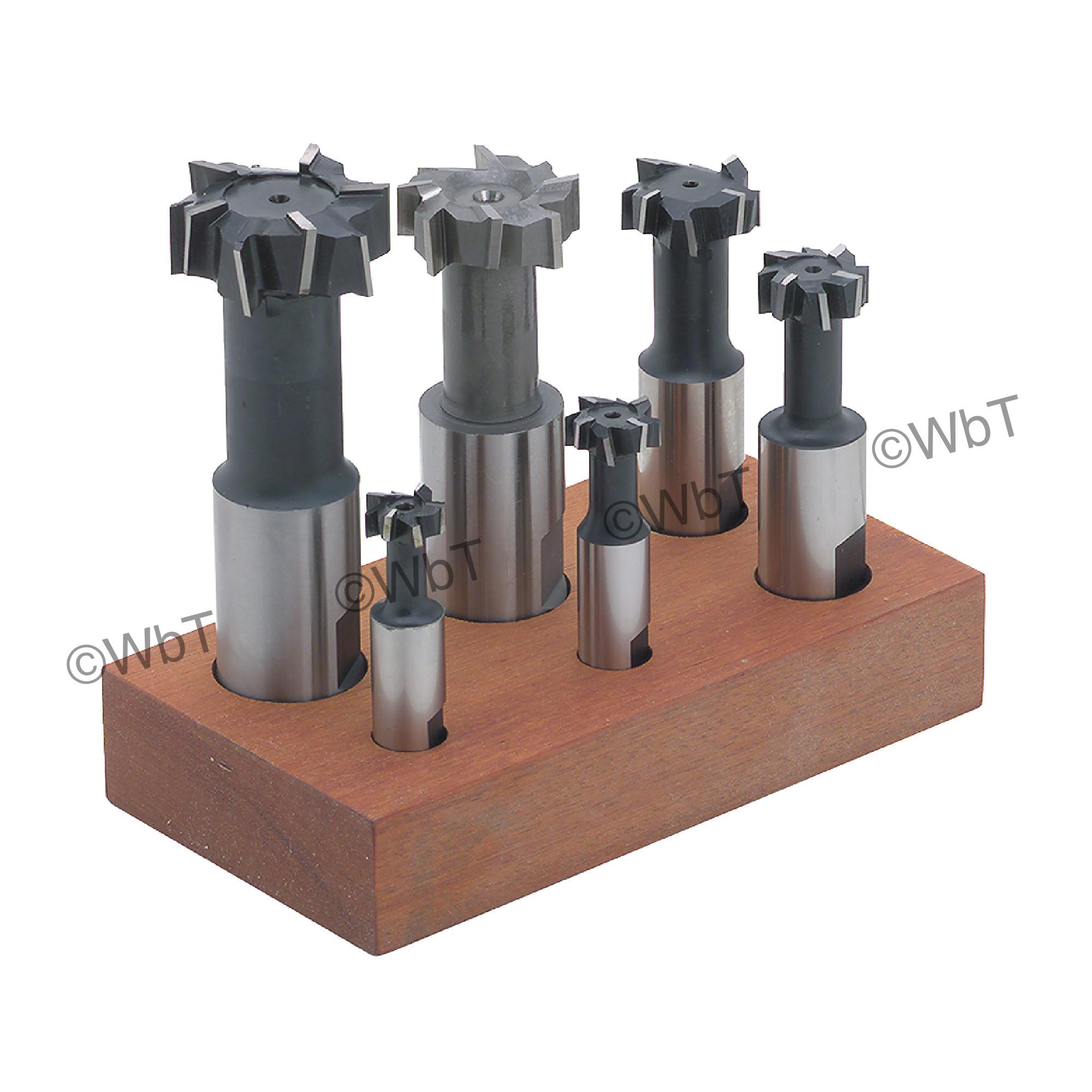 6 Piece High Speed Steel T-Slot Cutter Set