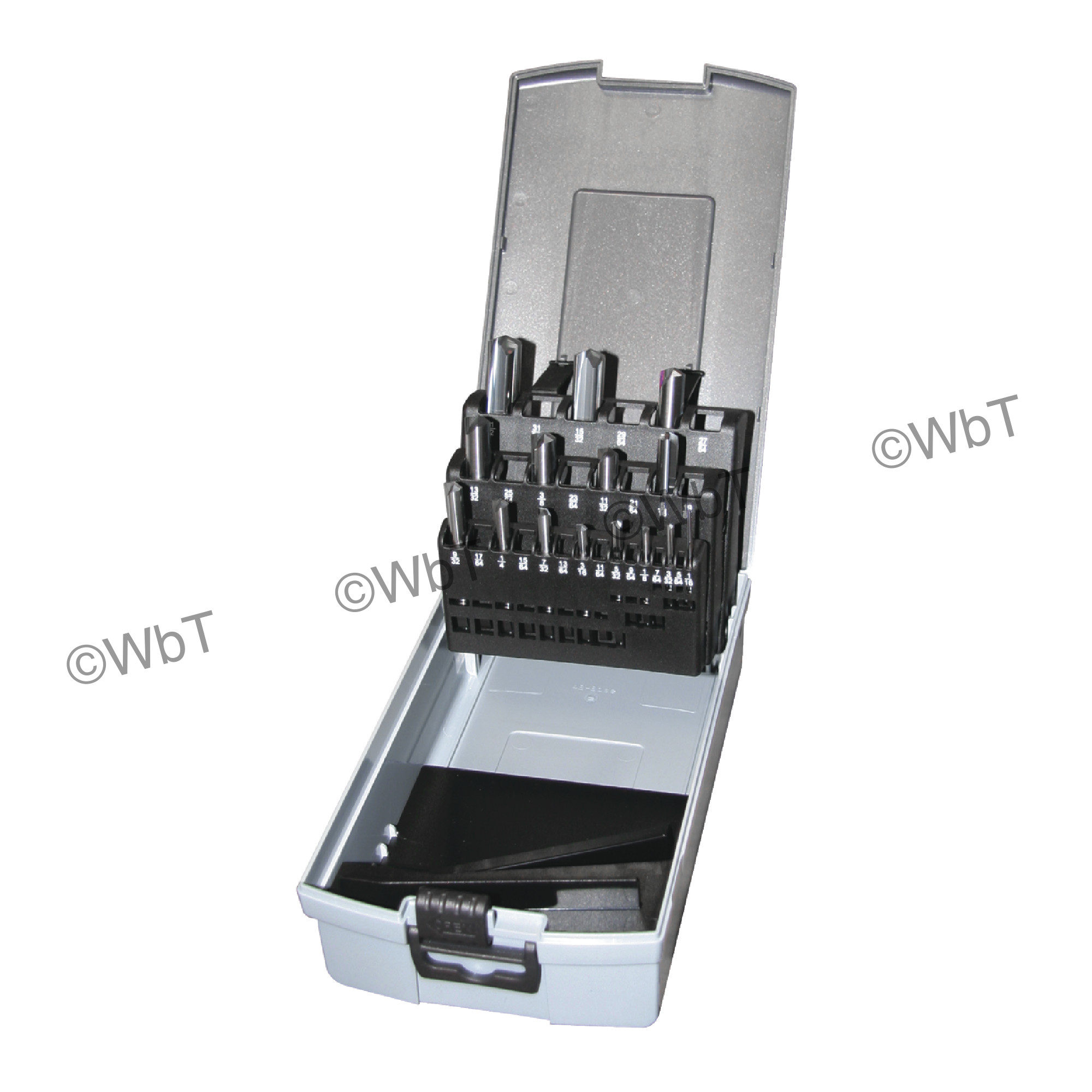 15 Piece Solid Carbide Jobber Straight Flute 140 degree Notched Point Bright Finish Drill Set