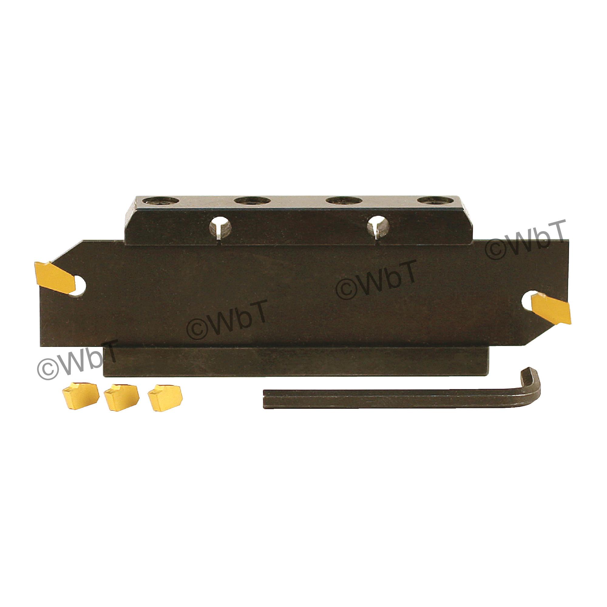 """TERRA CARBIDE - GTN-3 Blade, Block, & Insert Set 4 / 1.0"""" X 29/32"""" Shank / For 1.25"""" (32mm) Height Blades / With (5) GTN"""