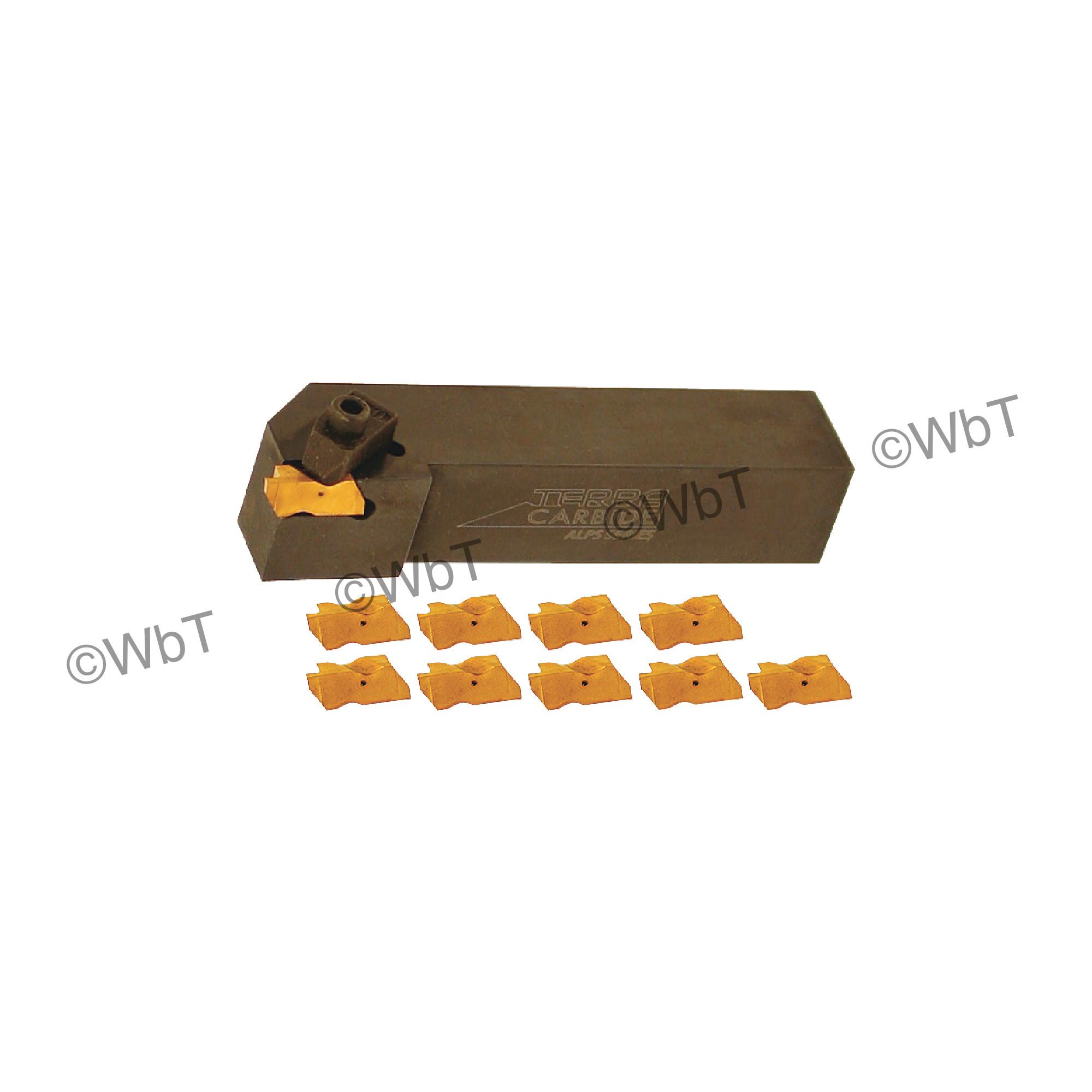 "TERRA CARBIDE - TNSR16-2D / 1.000"" Shank External Holder Sets with (10) TNG 2031R APC5T Inserts"