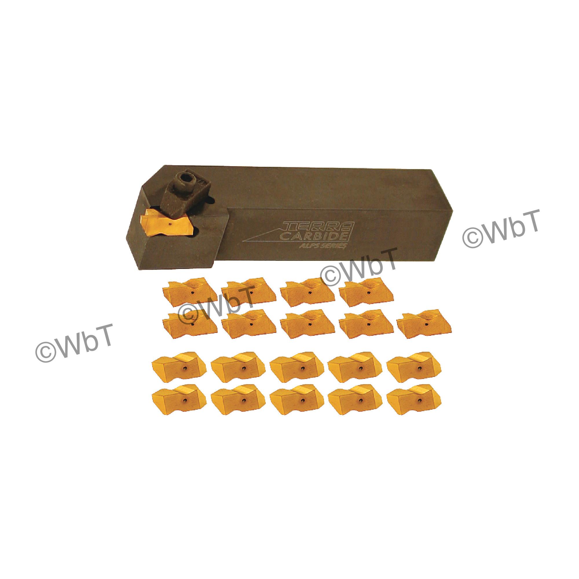"TERRA CARBIDE - TNSR16-3D / 1.000"" Shank External Holder Sets with (10) TNG 3062R APC5T Inserts & (10) TNT3R APC5T Inser"