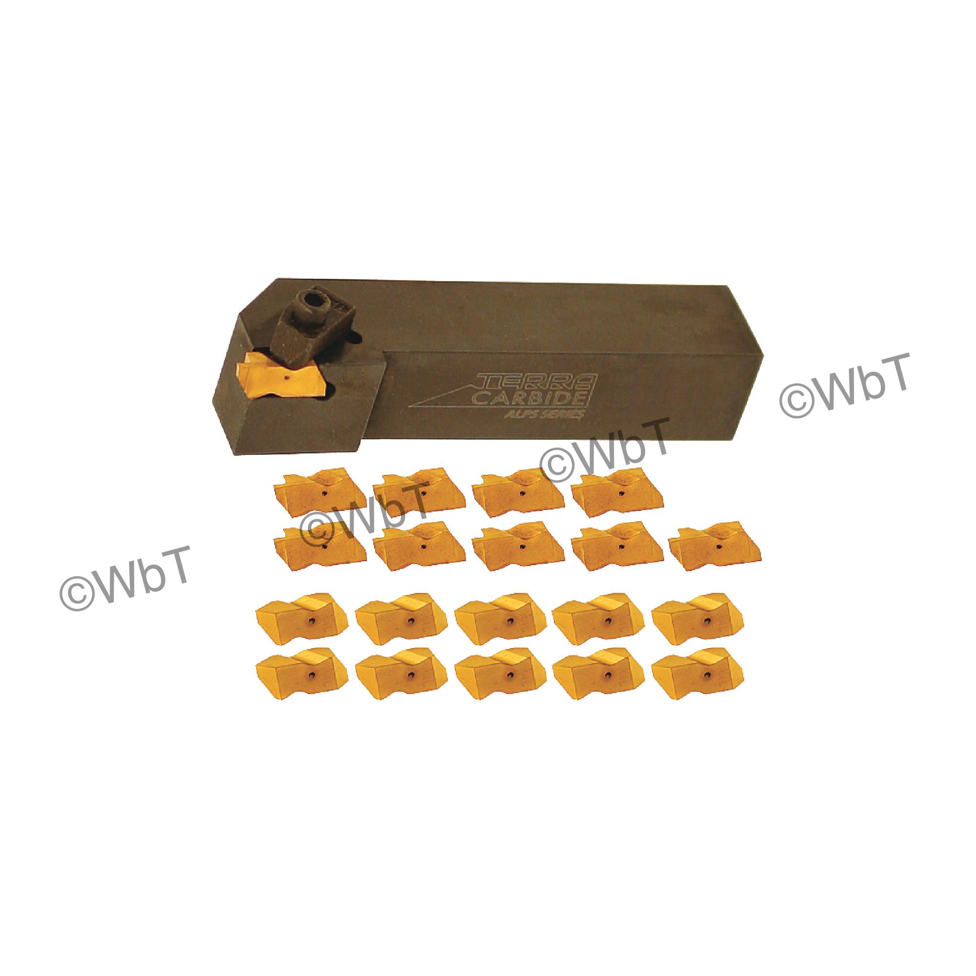 "TERRA CARBIDE - TNSR20-4D / 1.250"" Shank External Holder  Sets with (10) TNG 4125R APC5T Inserts & (10) TNT4R APC5T Inse"