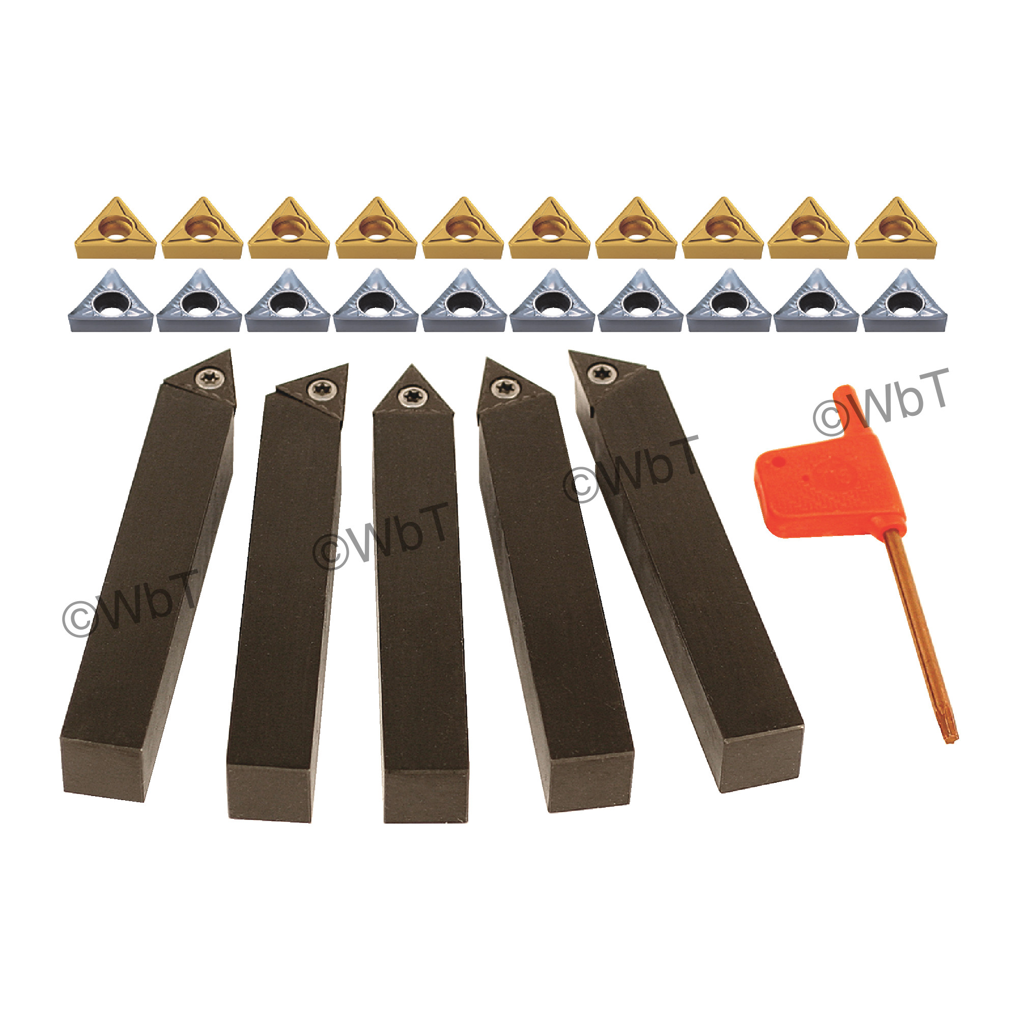 TERRA CARBIDE - 5 Piece External Turning Set with Additional Inserts / Accepts TCMT2(1.5)_ Inserts / 10 Additional (AKUM