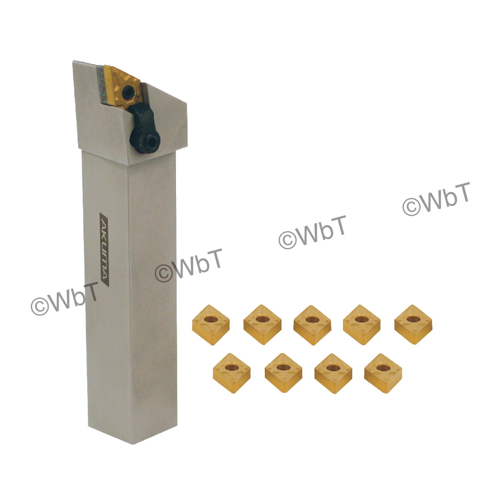 "AKUMA - 1.000"" CNMG43_ Turning Set / Includes: (1) MCLNR16-4D & (1.0"" Tool Holder) & (10) CNMG432-MRP1 CT25M Coated Inse"