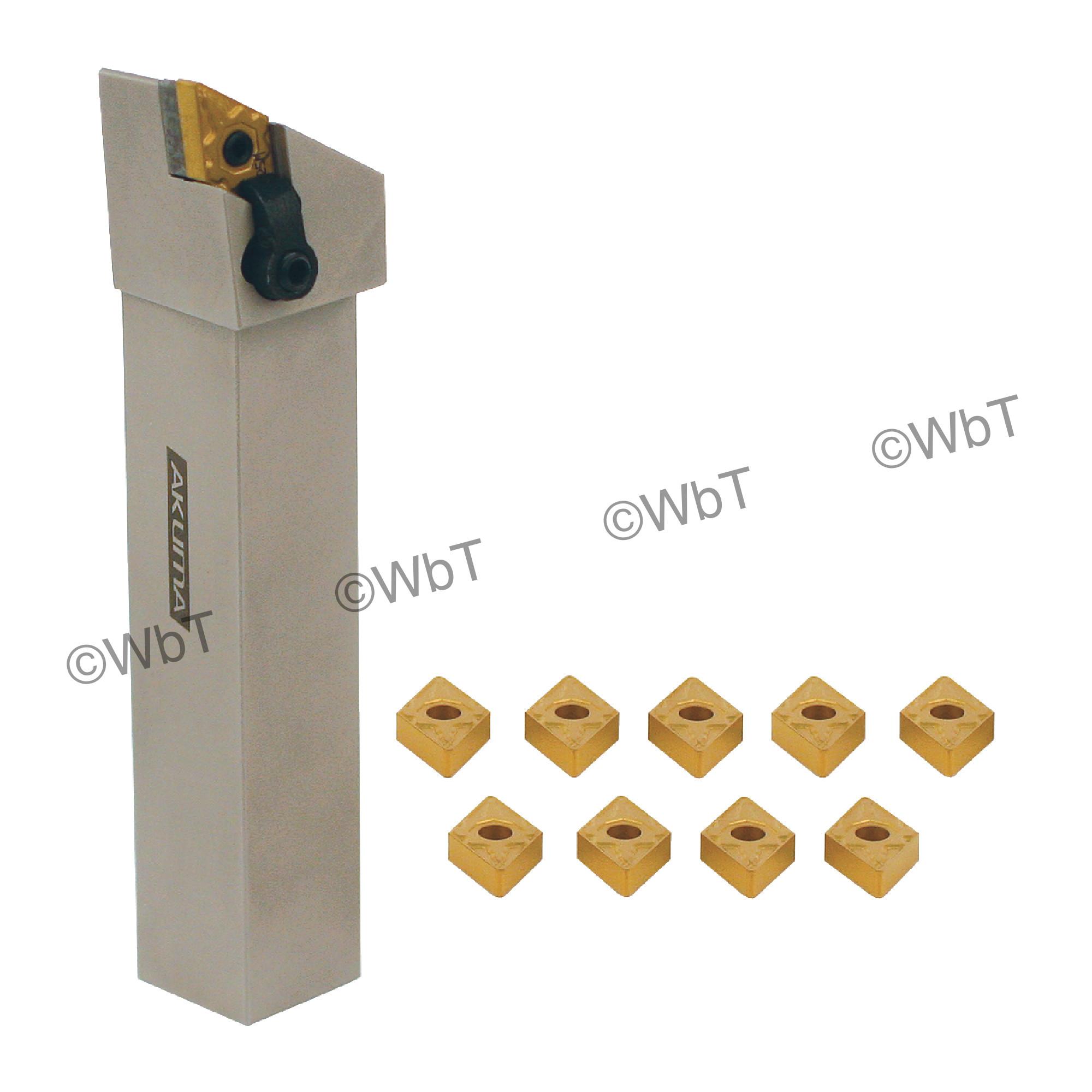 "AKUMA - 0.750"" DNMG43_ Turning Set / Includes: (1) MDJNR12-4B & (3/4"" Tool Holder) & (10) DNMG432-MRP1 CT25M Coated Inse"
