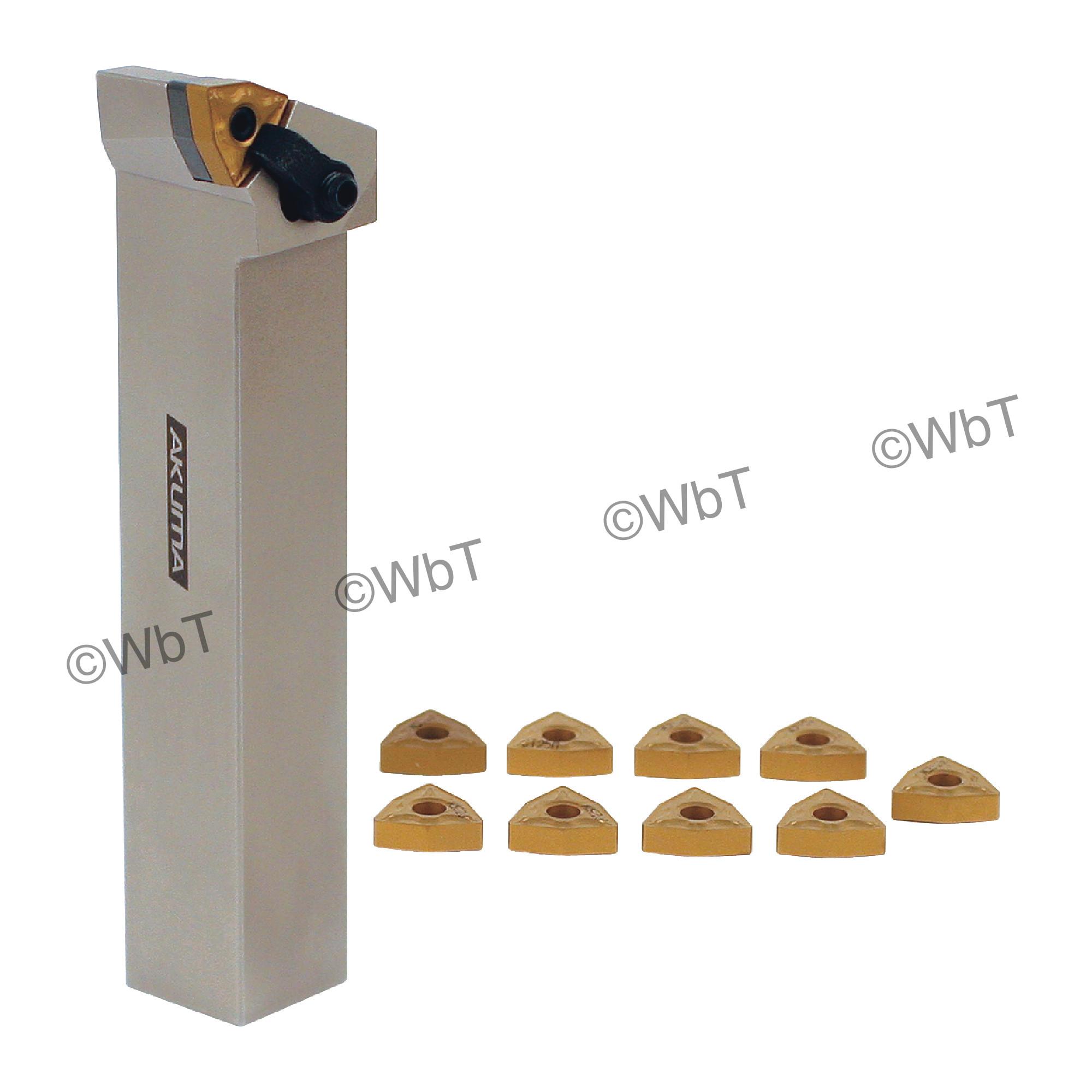 "AKUMA - 1.000"" WNMG43_ Turning Set / Includes: (1) MWLNR16-4D & 1.0"" Tool Holder) & (10) WNMG432-MRP1 CT25M Coated Inser"