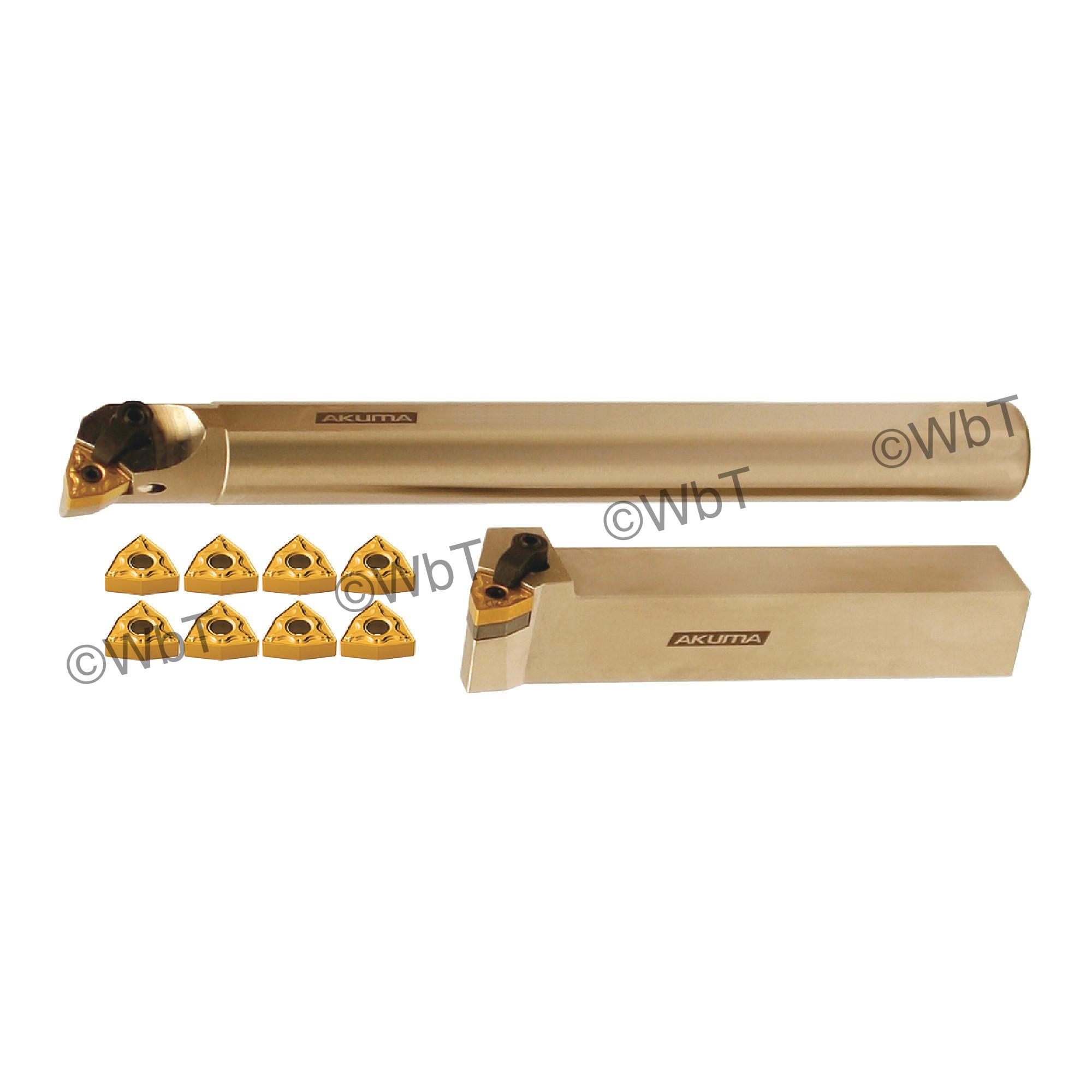 "AKUMA - 1.000"" WNMG43_ Turning & Boring Bar Set / Includes: (1) MWLNR16-4D (1.0"" Tool Holder), (1) A16S-MWLNR-4 (1.0""&os"