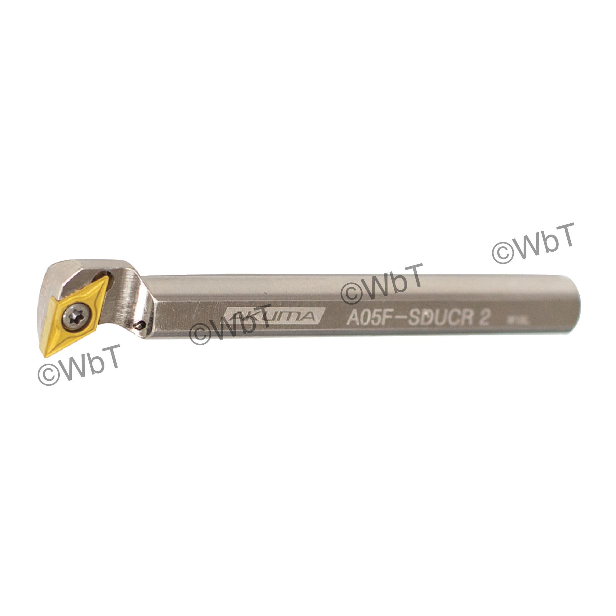 """AKUMA - A05F-SDUCR-2 / Steel Boring Bar / 3/16"""" Shank / DCMT2(1.5)_ / Cooalnt Thru / Right Hand"""
