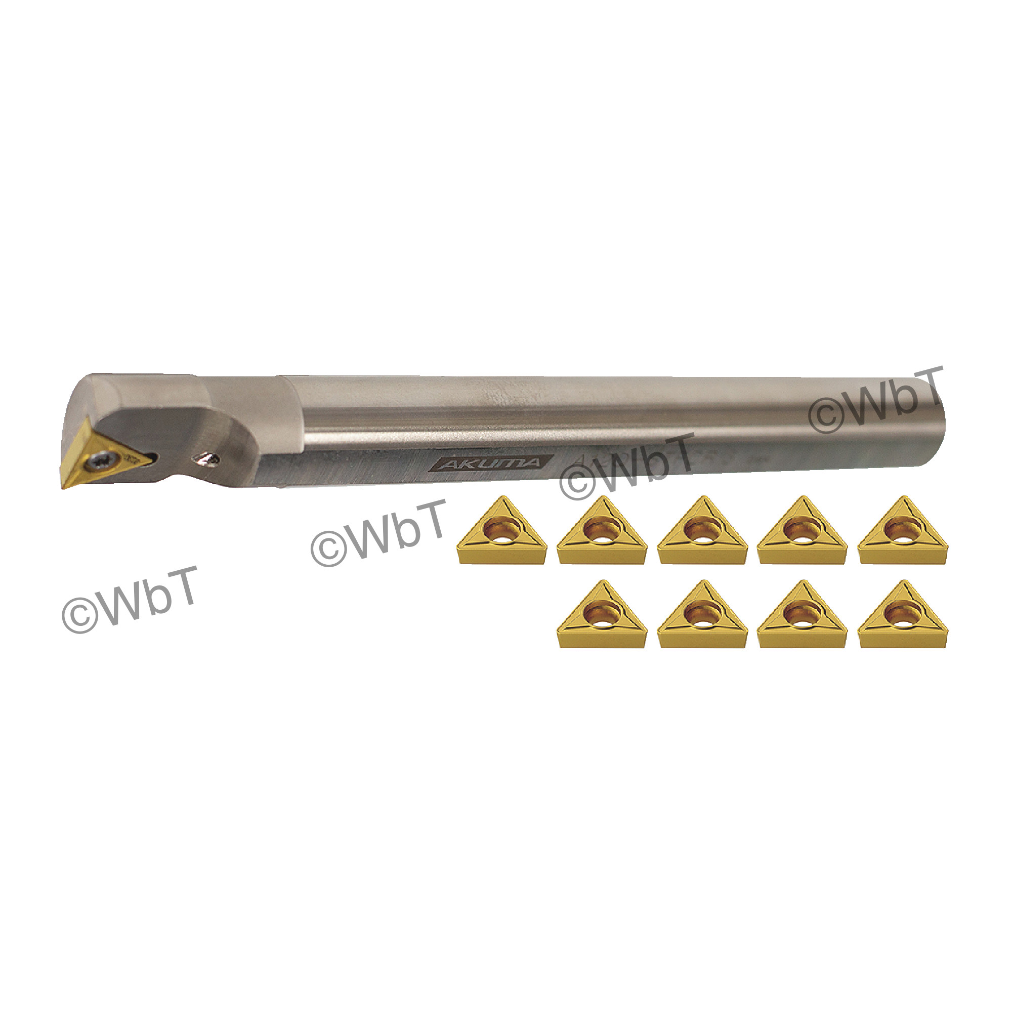 "AKUMA - 3/4"" Boring Bar Set with (1) A12Q-STFCR-3 (3/4"") & (10) TCMT3(2.5)1-MP1 CT25M Coated Inserts / Coolant Thru / Ri"