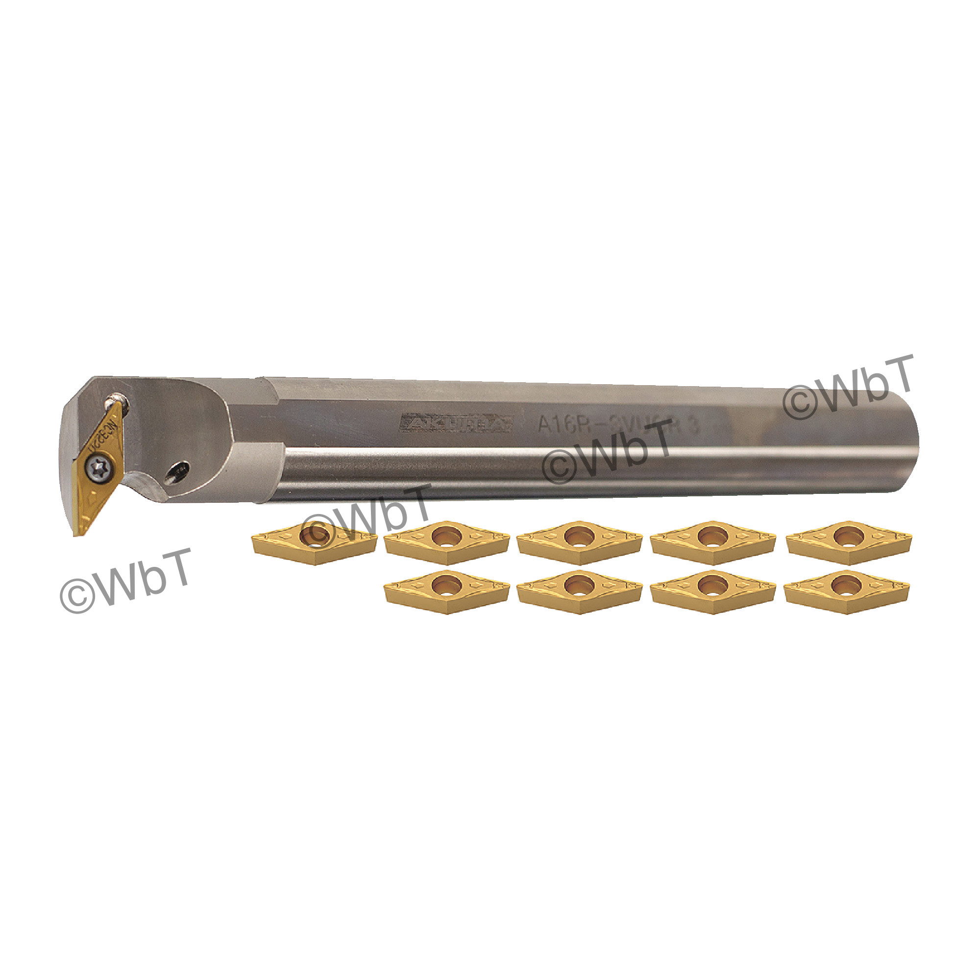 """AKUMA - 1.0"""" Boring Bar Set with (1) A16R-SVUCR-3 (1.0"""") & (10) VCMT331-FP1 CT25M Coated Inserts / Coolant Thru / Right"""