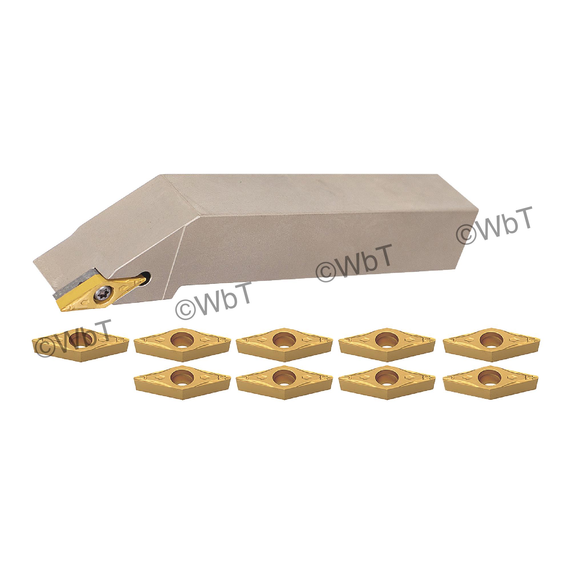 "AKUMA - 3/8"" Turning Set with (1) SVJCR06-2J (3/8"" Holder) & (10) VCMT221-FP1 CT25M Coated Inserts / Right Hand"