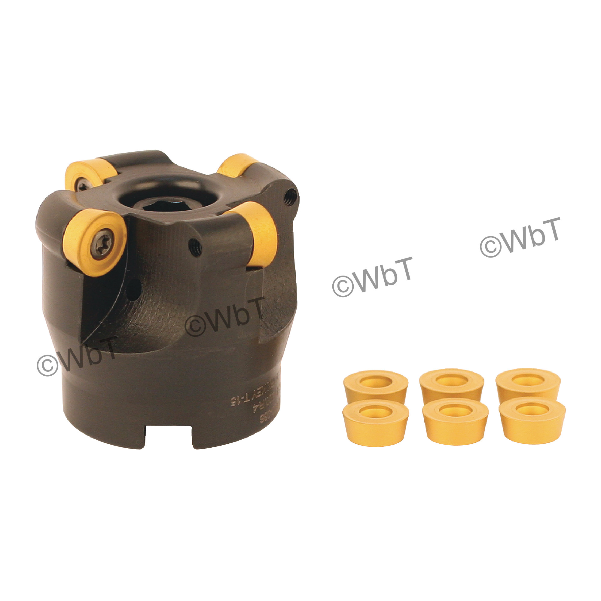 "AKUMA - 2.000"" Face Mill Set / Includes: (1) RPC.43.200R-4 (2.0""ø) & (10) RPMT1204M0S-M1 CM30P Coated Inserts / R"