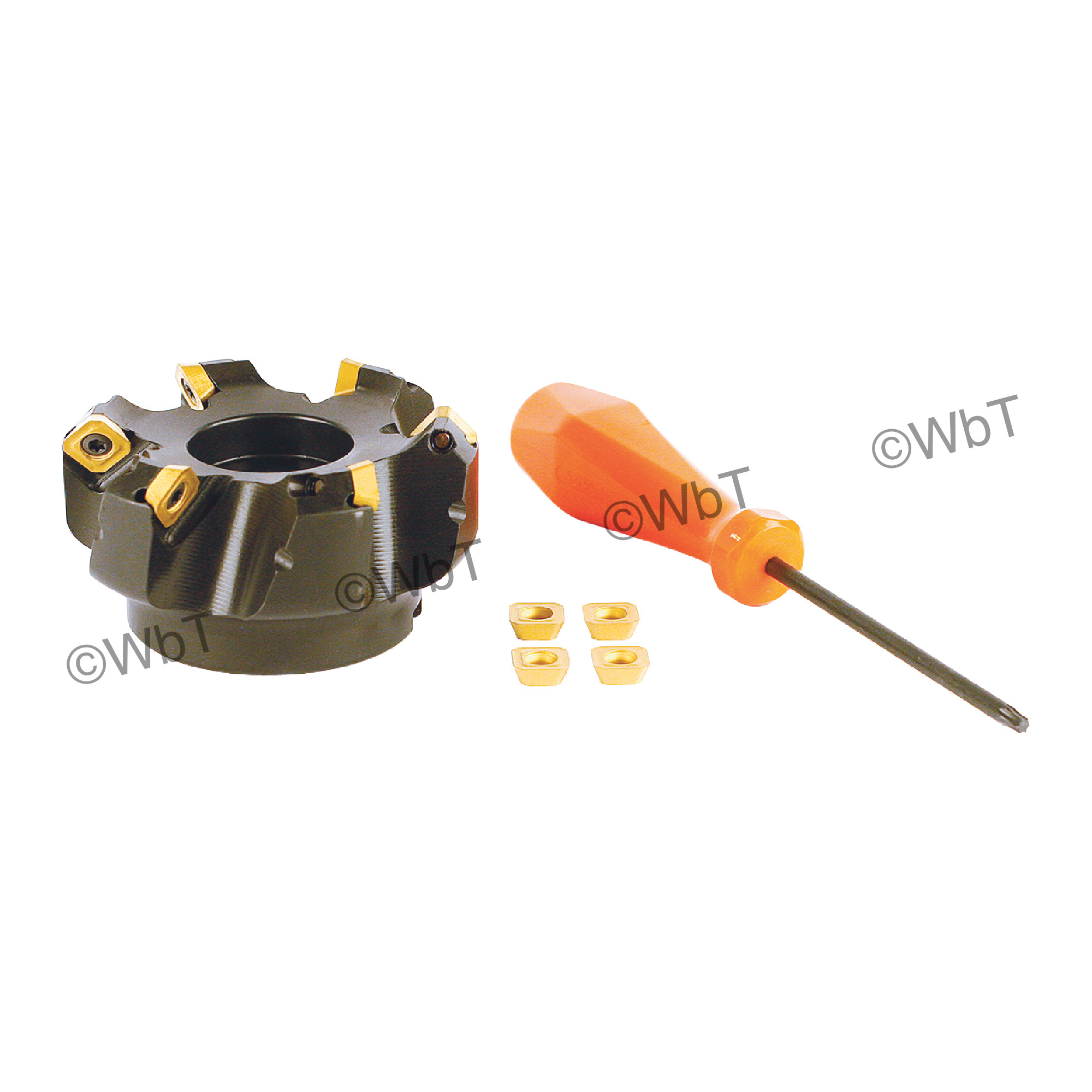 """AKUMA - 2.000"""" - 45° Face Mill Set / Includes: (1) SEAC.43.200R-4 (2.0"""" ø) (10) SEHT43AFSN-M1 CM30P Coated I"""