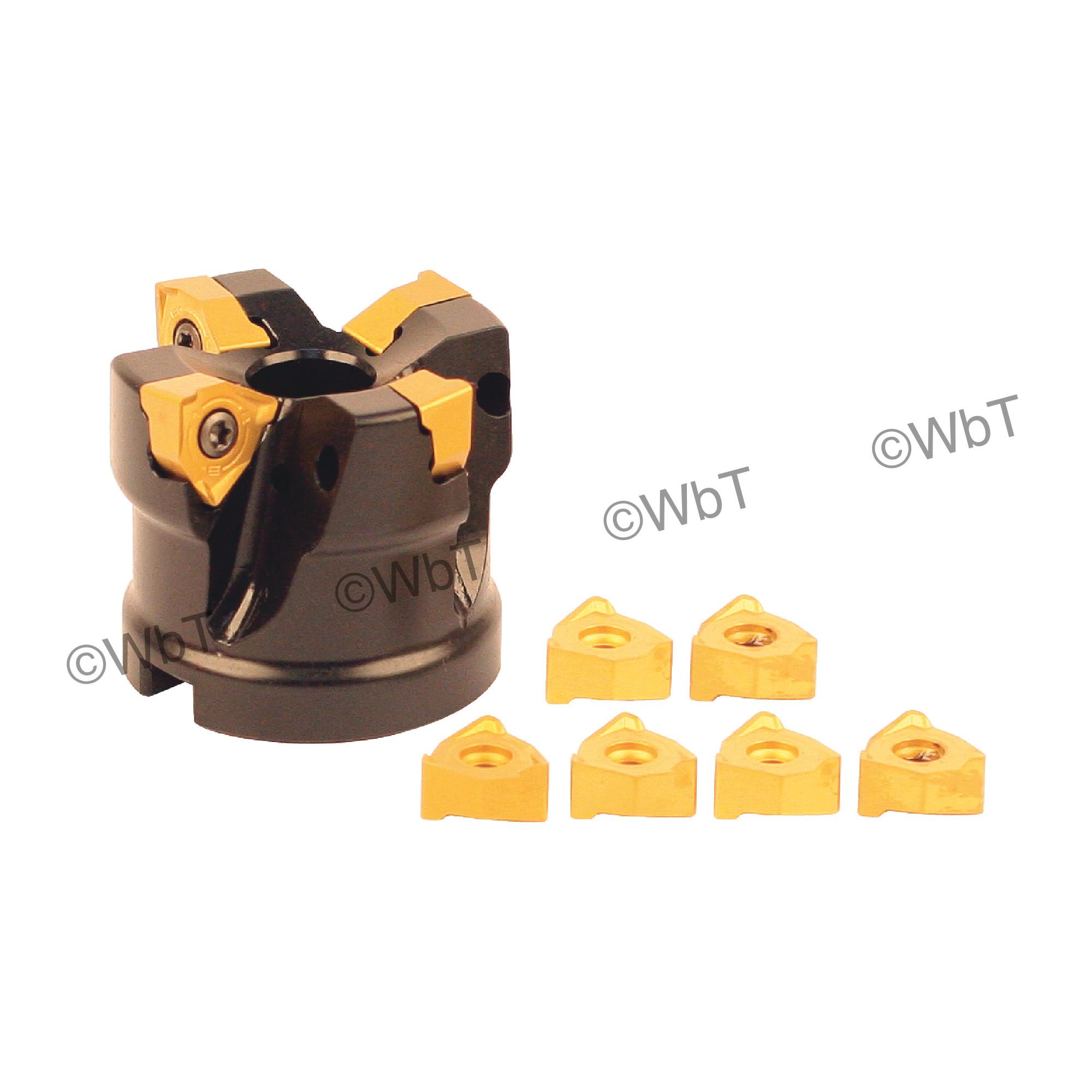 """AKUMA - 2.000"""" Face Mill Set / Includes: (1) XNPC.44.200R-4 (2.0"""" ø) & (10) XNEX442R-M1 CM30P Coated Inserts / Ri"""