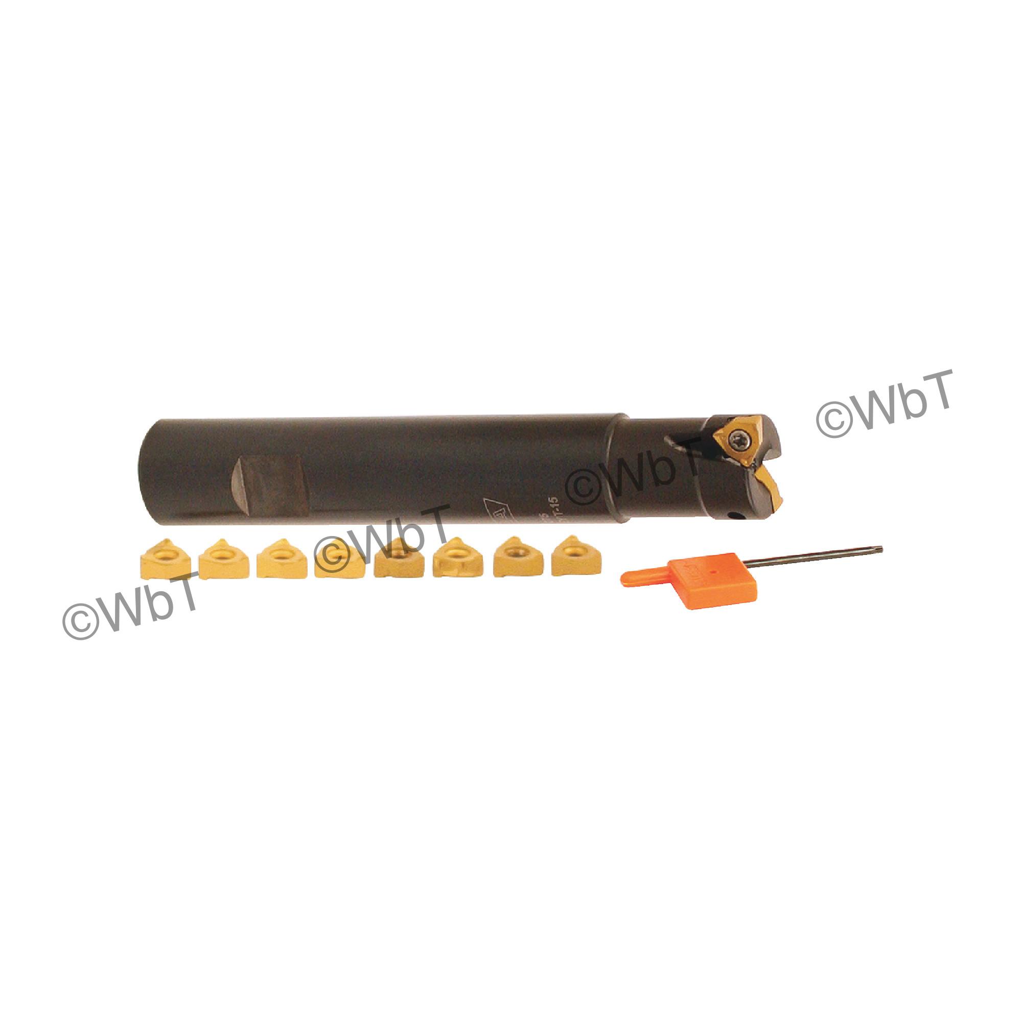 "AKUMA - 0.750"" End Mill Set with Inserts / Includes: (1) XNPS.22.075.R-S.075 (3/4"" ø) & (10) XNEX221R-M1 CM30P Co"