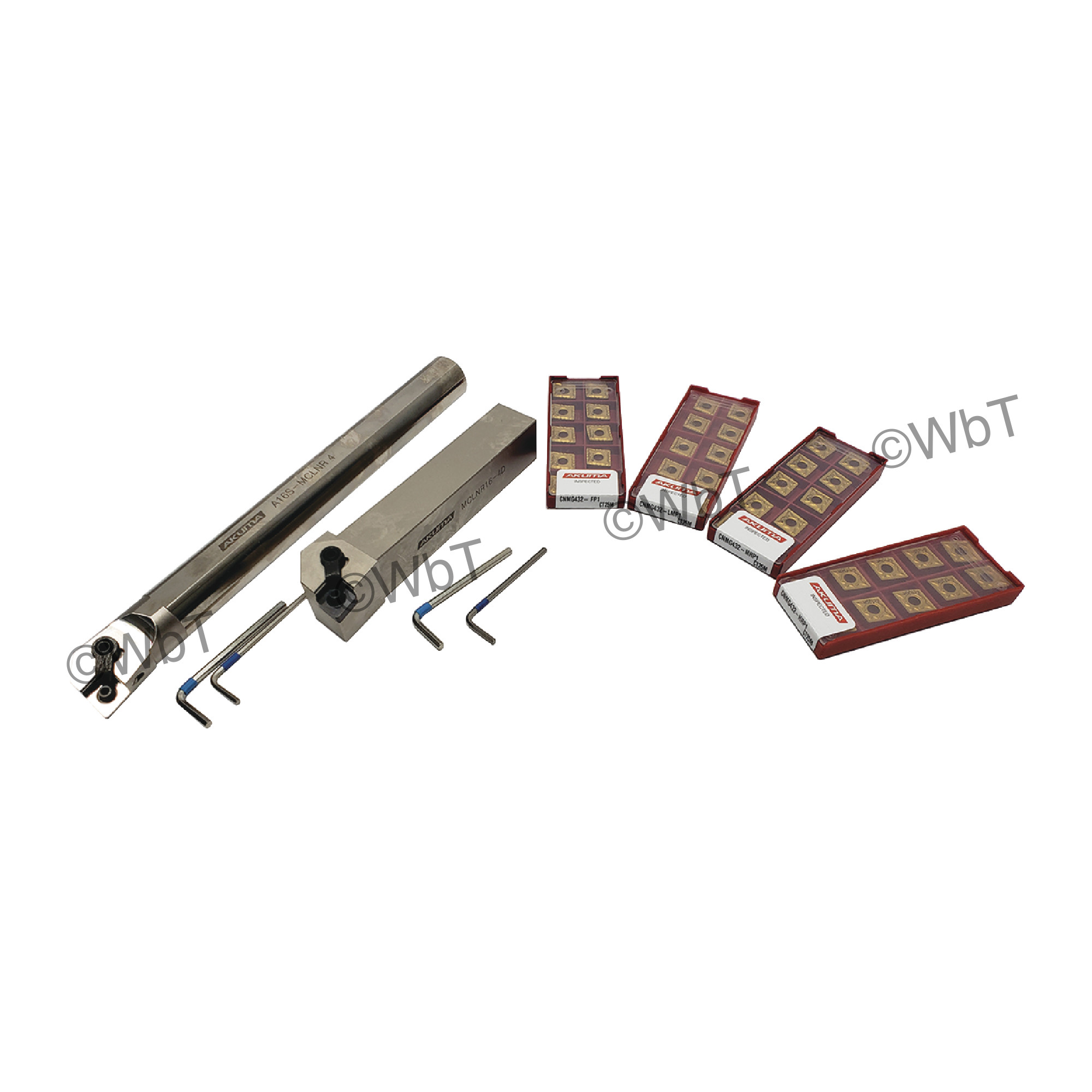 """AKUMA - CNMG432 Combination Turning Bundle / 40 Inserts with 4 different chip breakers, a 1.0"""" boring bar and a 1.0"""" too"""