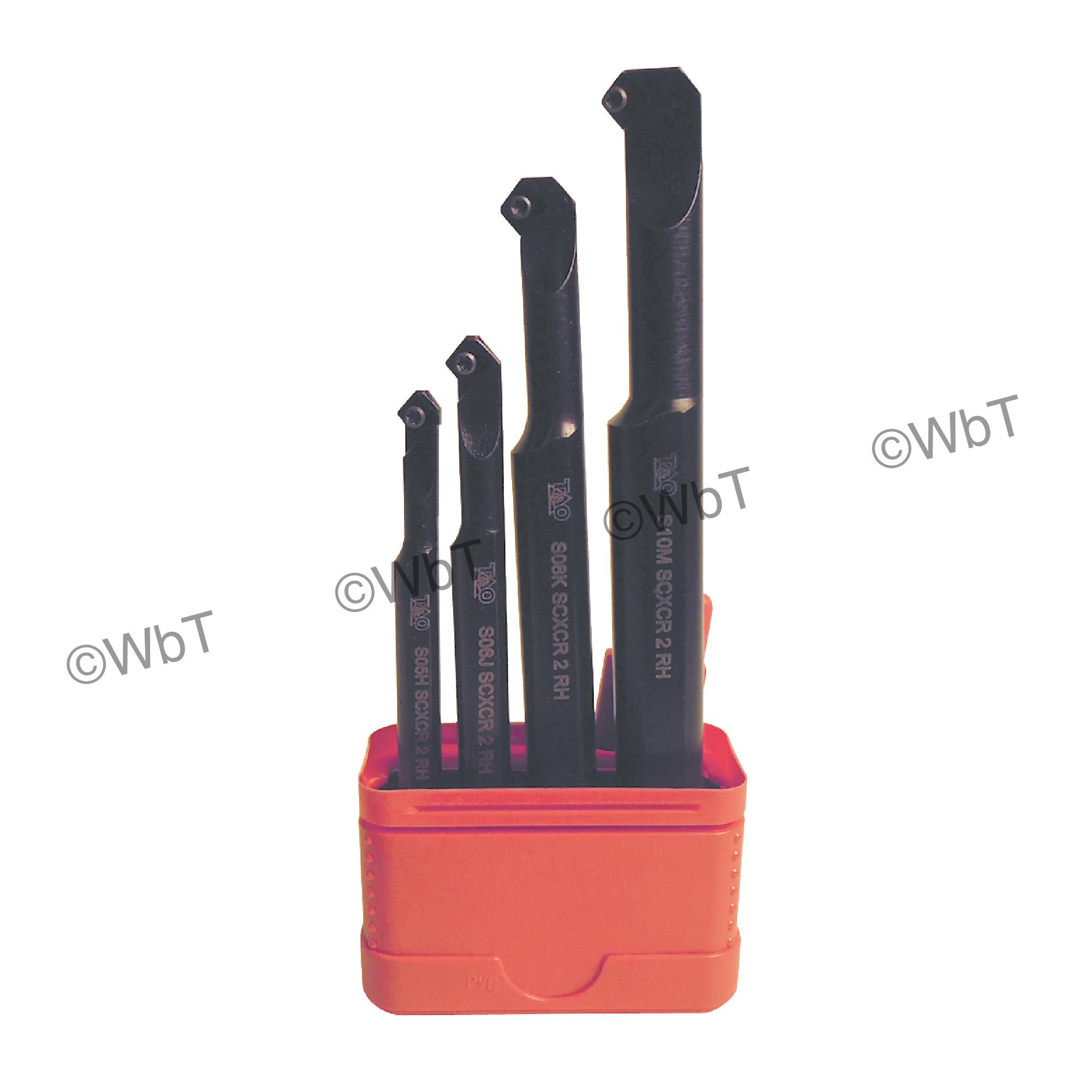 "T&O - S-SCXCR-2 SET-A Steel / Boring Bar Set (5/16"", 3/8"", 1/2"", & 5/8"") 100° CCMT2(1.5)_ Inserts / Right Hand"