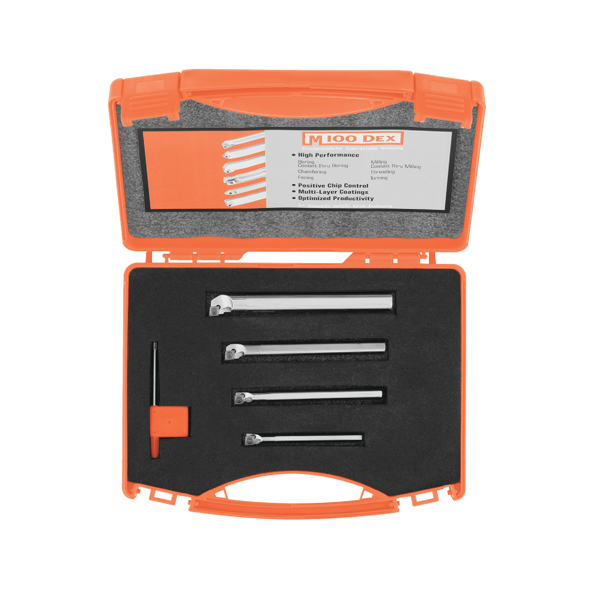 """M100DEX - 40-0100 4PC SET Steel / Boring Bar Set (1/4"""", 5/16"""", 3/8"""", 1/2"""") With CCMT2(1.5)1 Coated Inserts / Right Hand"""