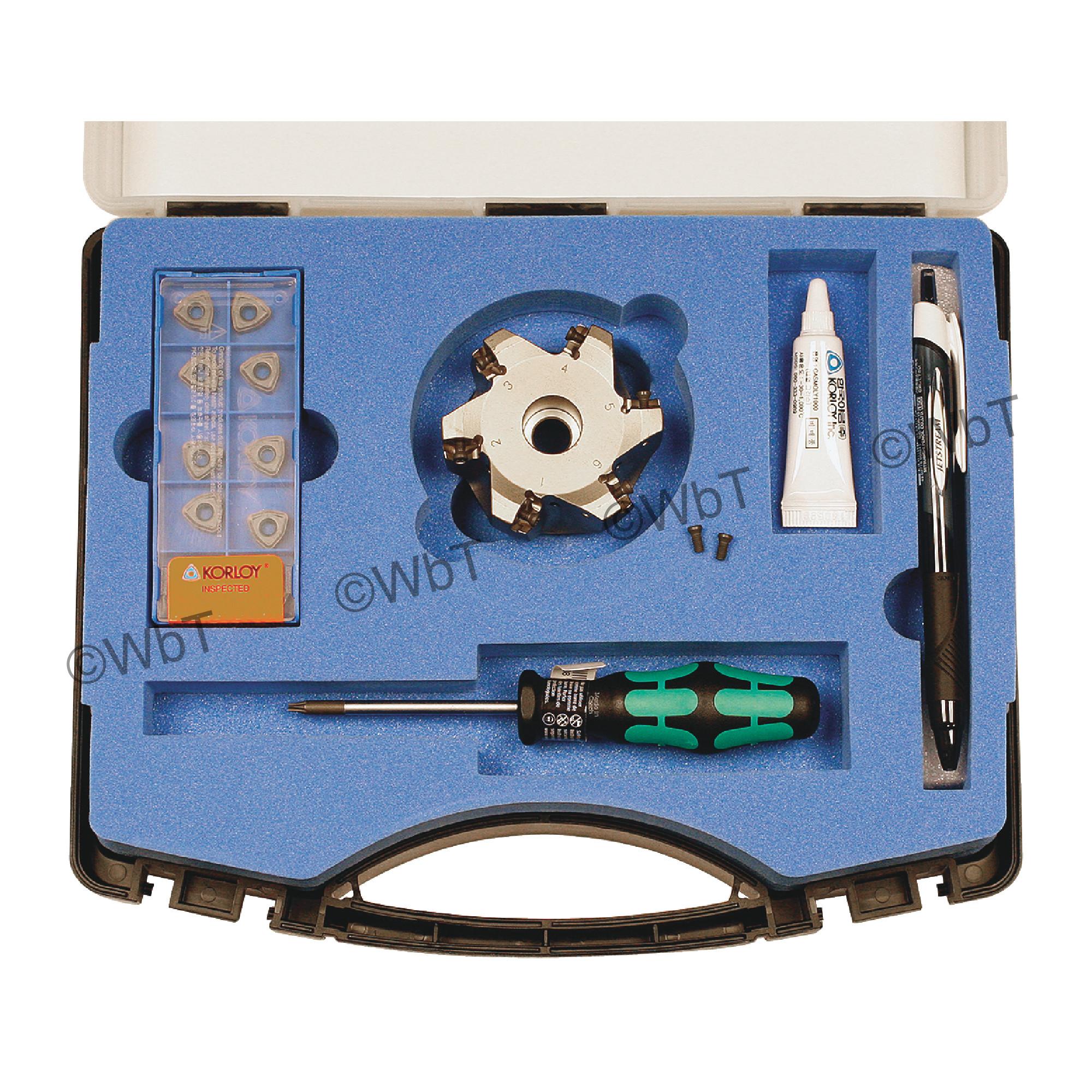 "KORLOY - 2.500"" High-Feed Face Mill Set / Includes: (1) HRMDCA09250HR-6 (2.5"" ø) & (10) WNMX09T316ZNN-MM PC5300 C"