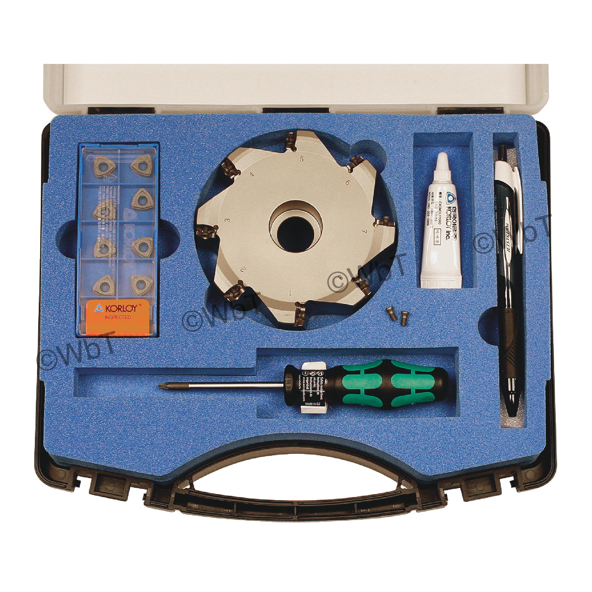 "KORLOY - 4.000"" High-Feed Face Mill Set / Includes: (1) HRMDCA09400HR-8 (4.0"" ø) & (10) WNMX09T316ZNN-MM PC5300 C"