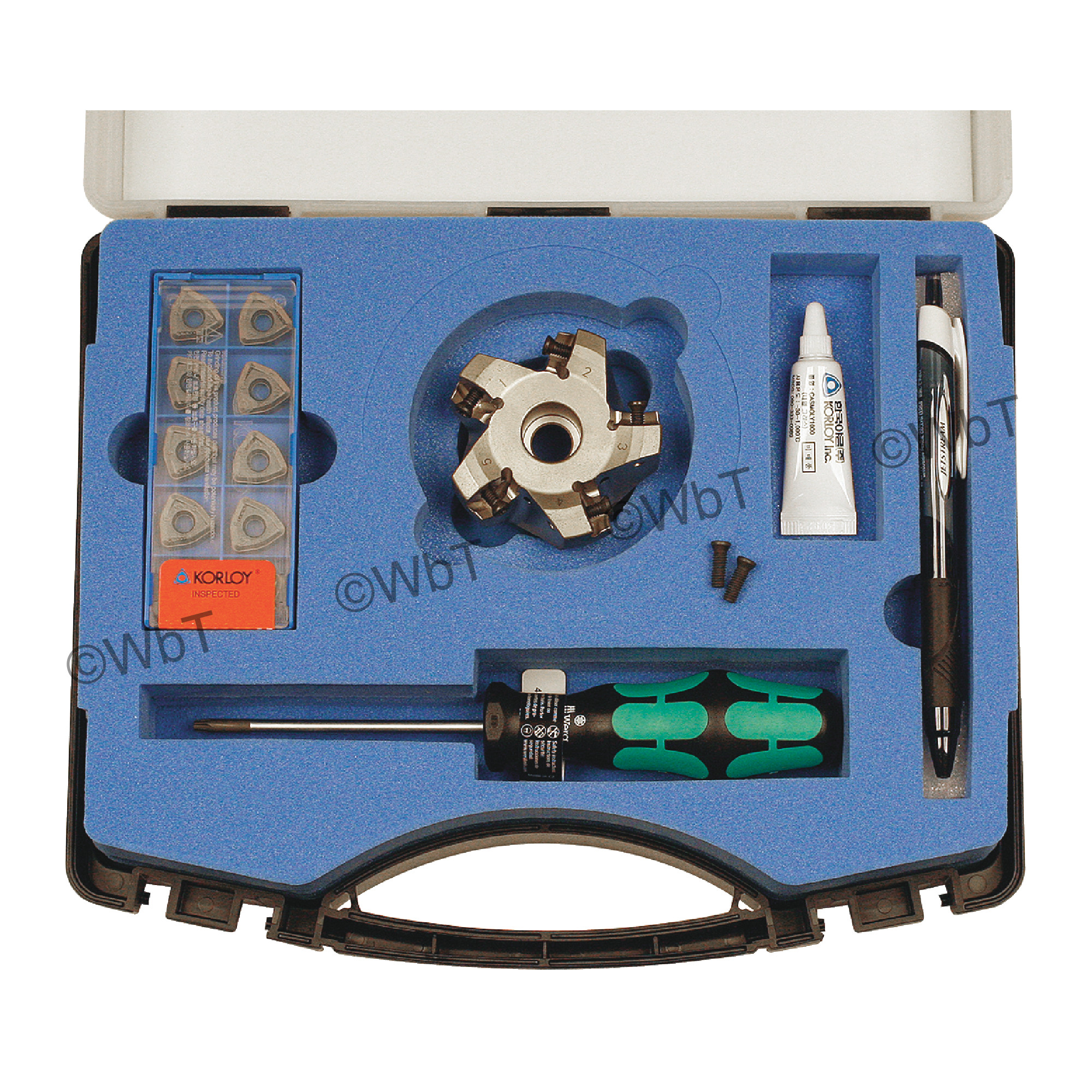 "KORLOY - 2.500"" High-Feed Face Mill Set / Includes: (1) HRMDCA13250HR-5 (2.5"" ø) & (10) WNMX130520ZNN-MM PC5300 C"