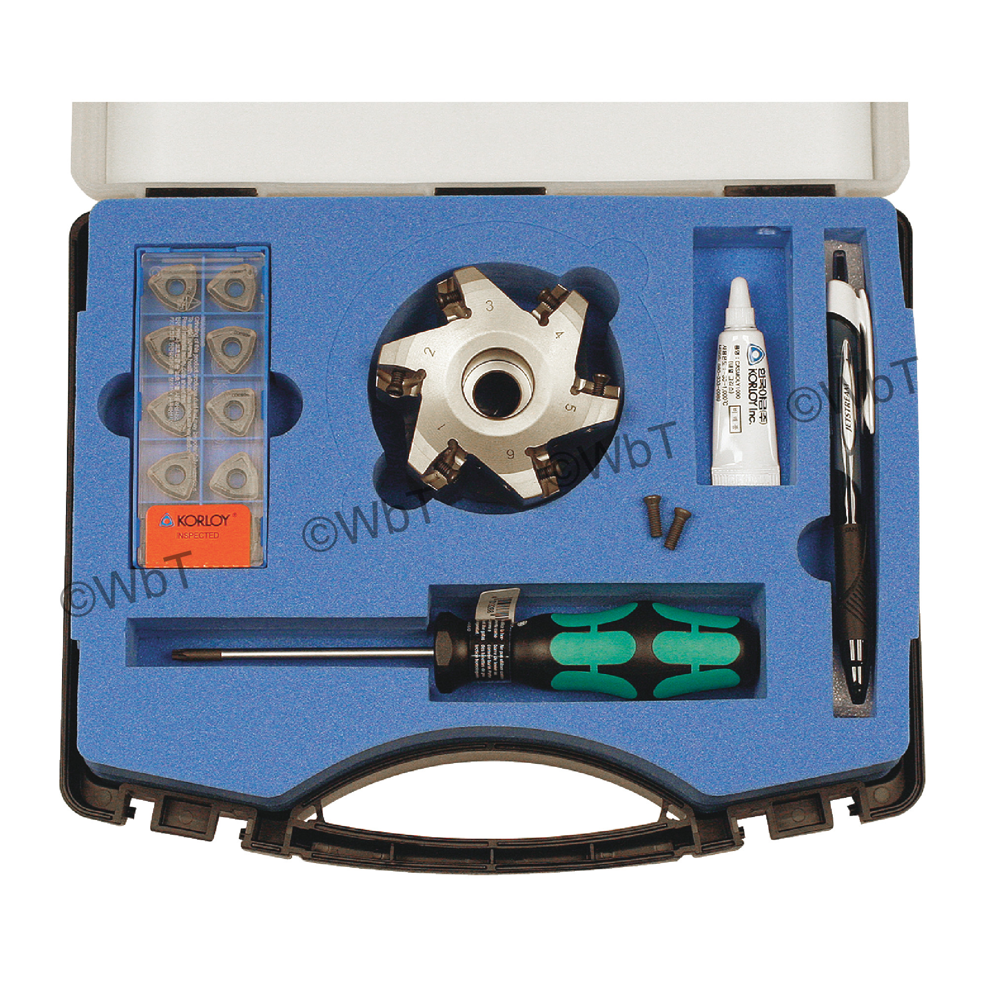 "KORLOY - 3.000"" High-Feed Face Mill Set / Includes: (1) HRMDCA13300HR-6 (3.0"" ø) & (10) WNMX130520ZNN-MM PC5300 C"