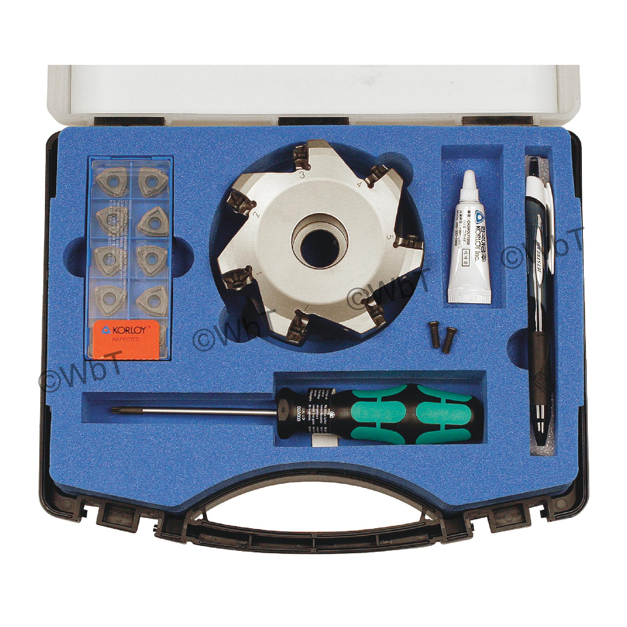 "KORLOY - 4.000"" High-Feed Face Mill Set / Includes: (1) HRMDCA13400HR-7 (4.0"" ø) & (10) WNMX130520ZNN-MM PC5300 C"