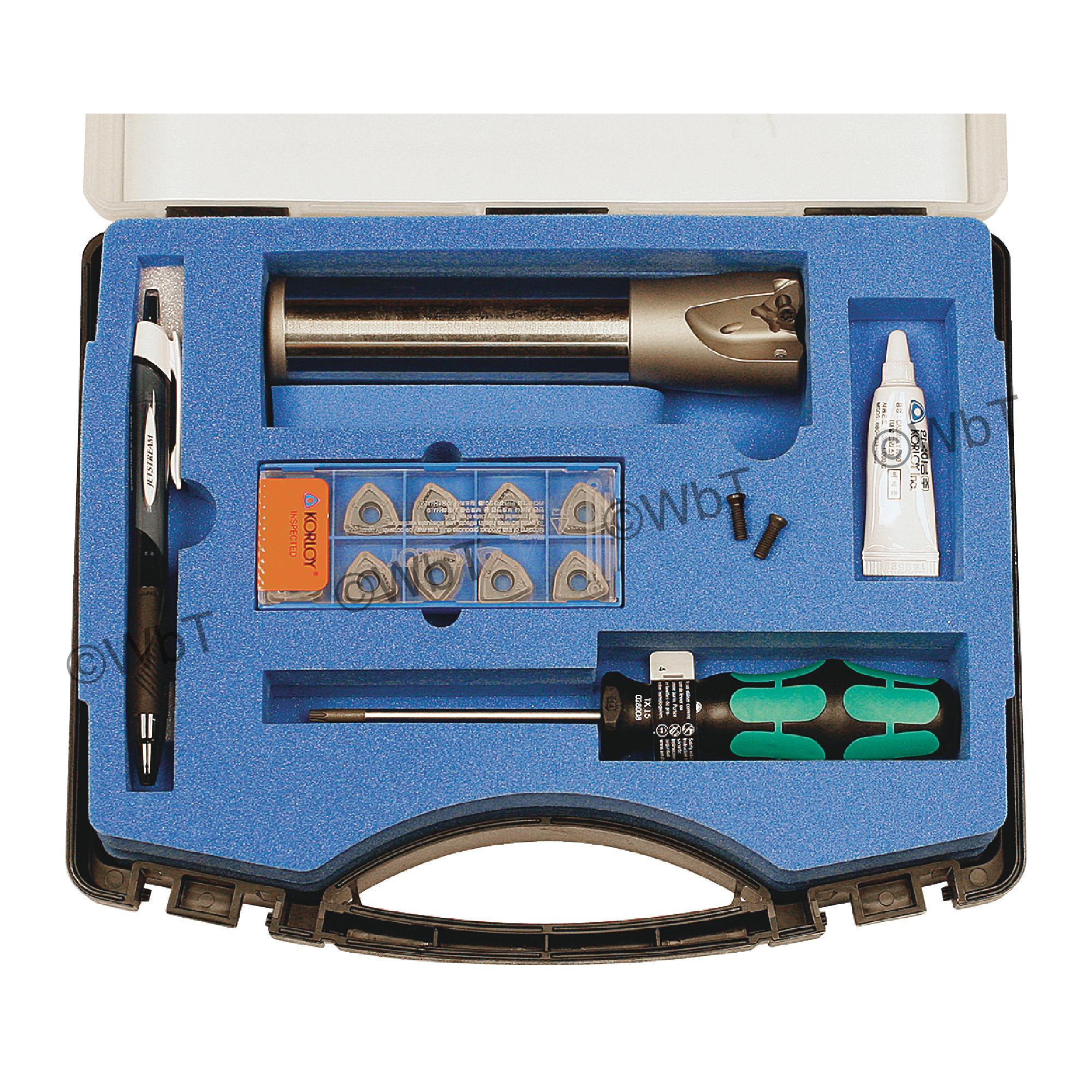 "KORLOY - 1.500"" High-Feed End Mill Set / Includes: (1) HRMDSA13150HR-3S125 (1.5"" ø) & (10) WNMX130520ZNN-MM PC530"