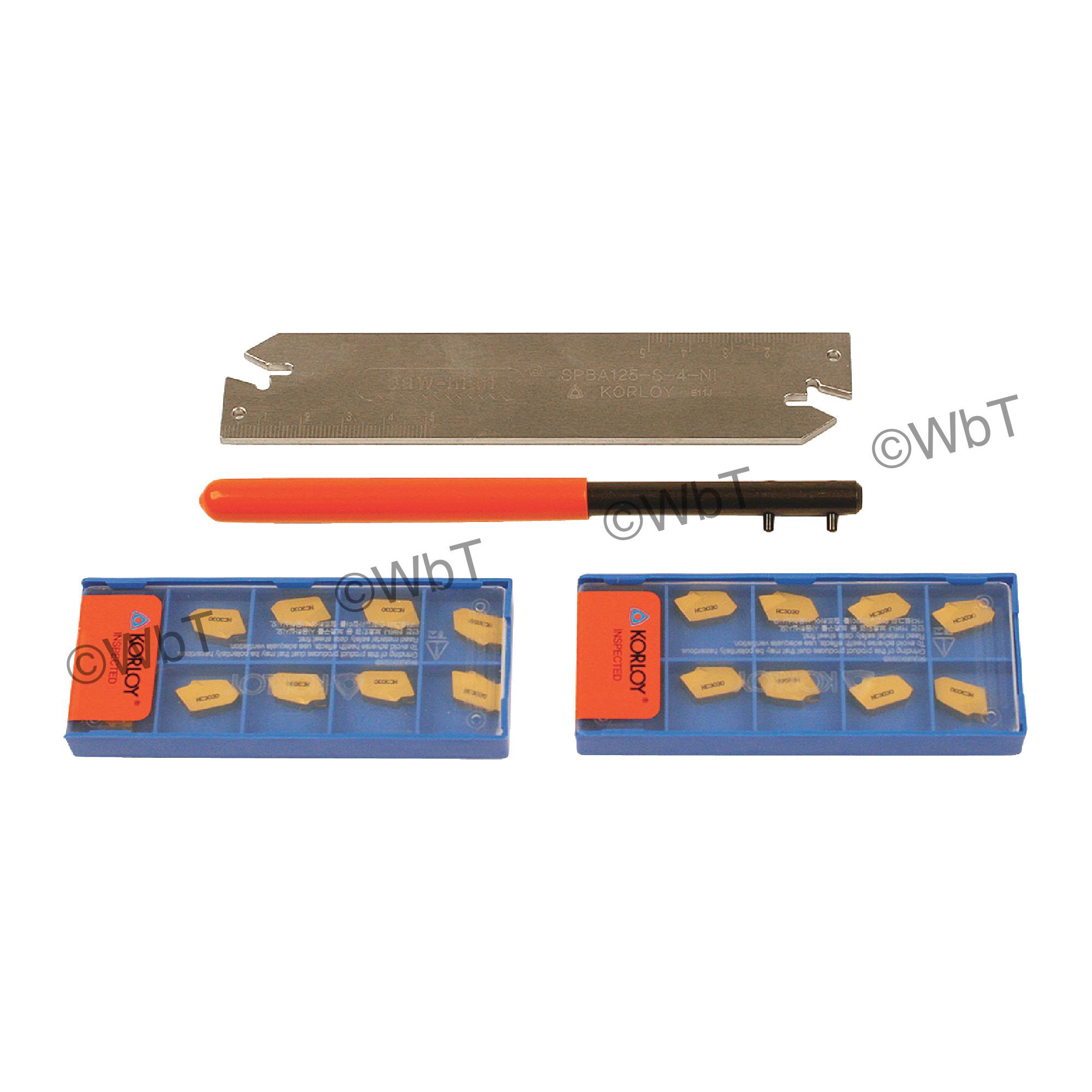 "KORLOY - SPBA125S3-KIT(P) / 1.25"" Parting Blade Set / With (20) GTN-3 NC3030 Coated Inserts / NEUTRAL"