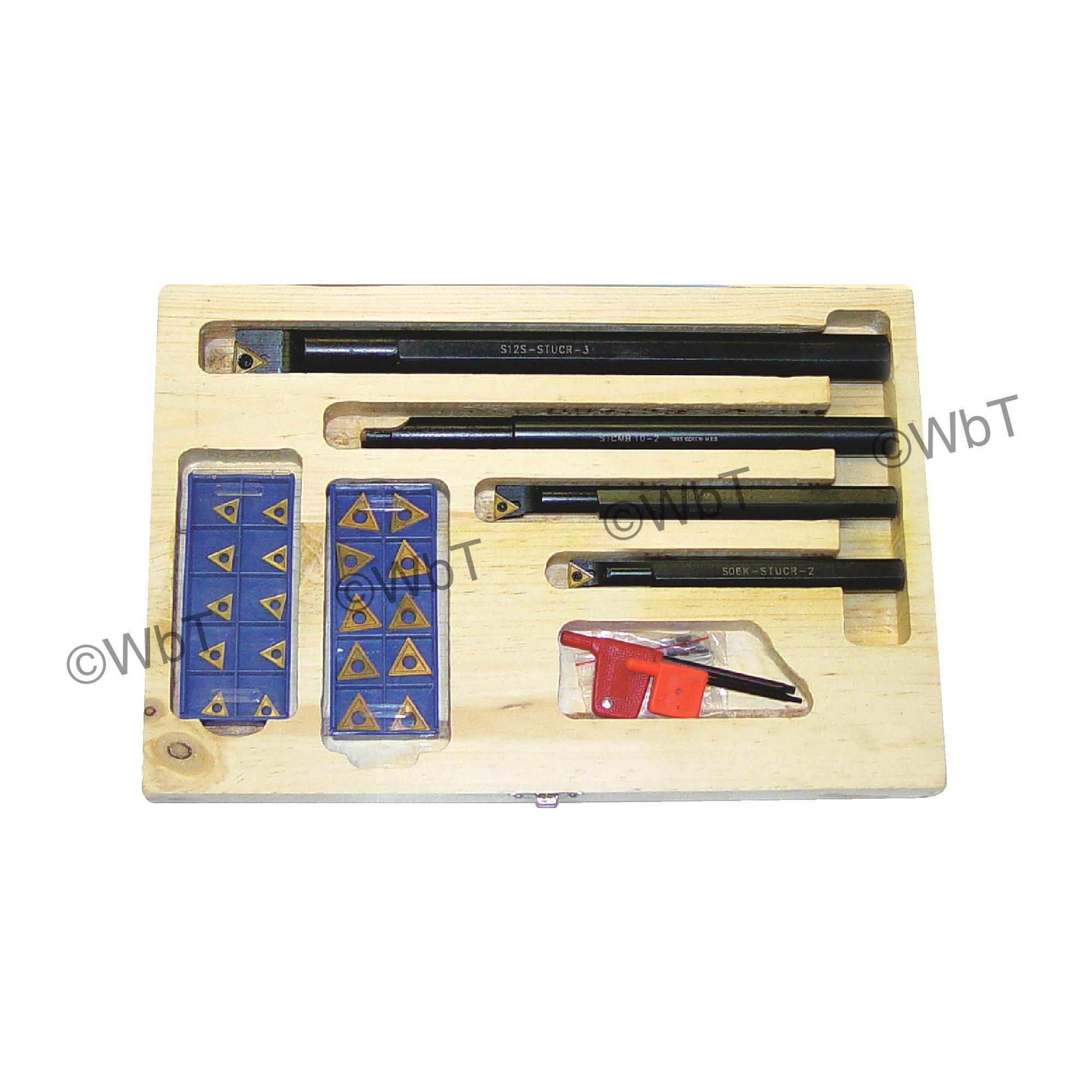"""PHASE II - INDB-31 SET Steel / Boring Bar Set (3/8"""", 1/2"""", 5/8"""", & 3/4"""") With (10) TCMT2(1.5)1 Coated Inserts & (10) TCM"""
