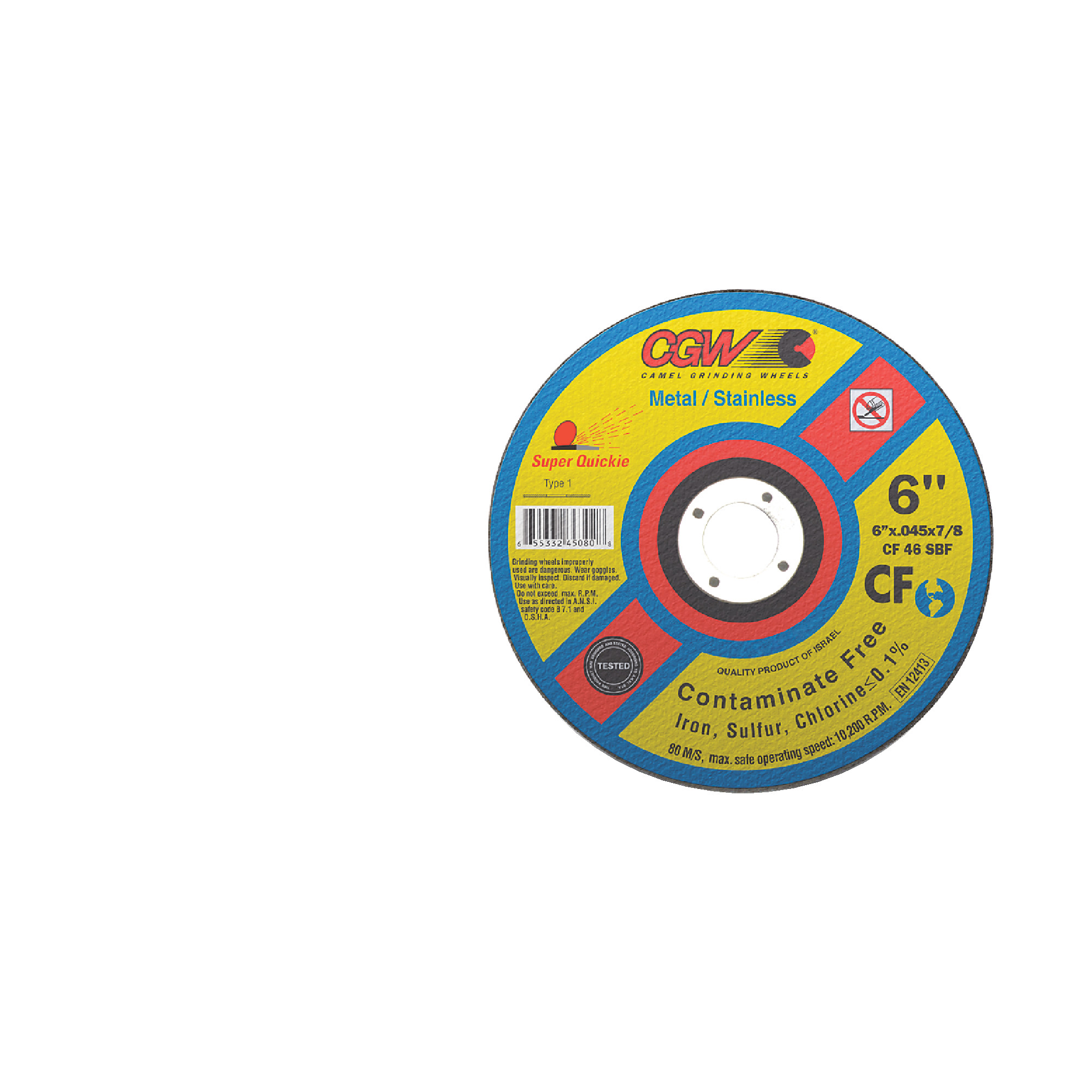 """CGW Contaminate Free Quickie Cut-Off Wheel - Diameter: 4-1/2""""   Thickness: 0.045   Hole Size: 7/8"""""""