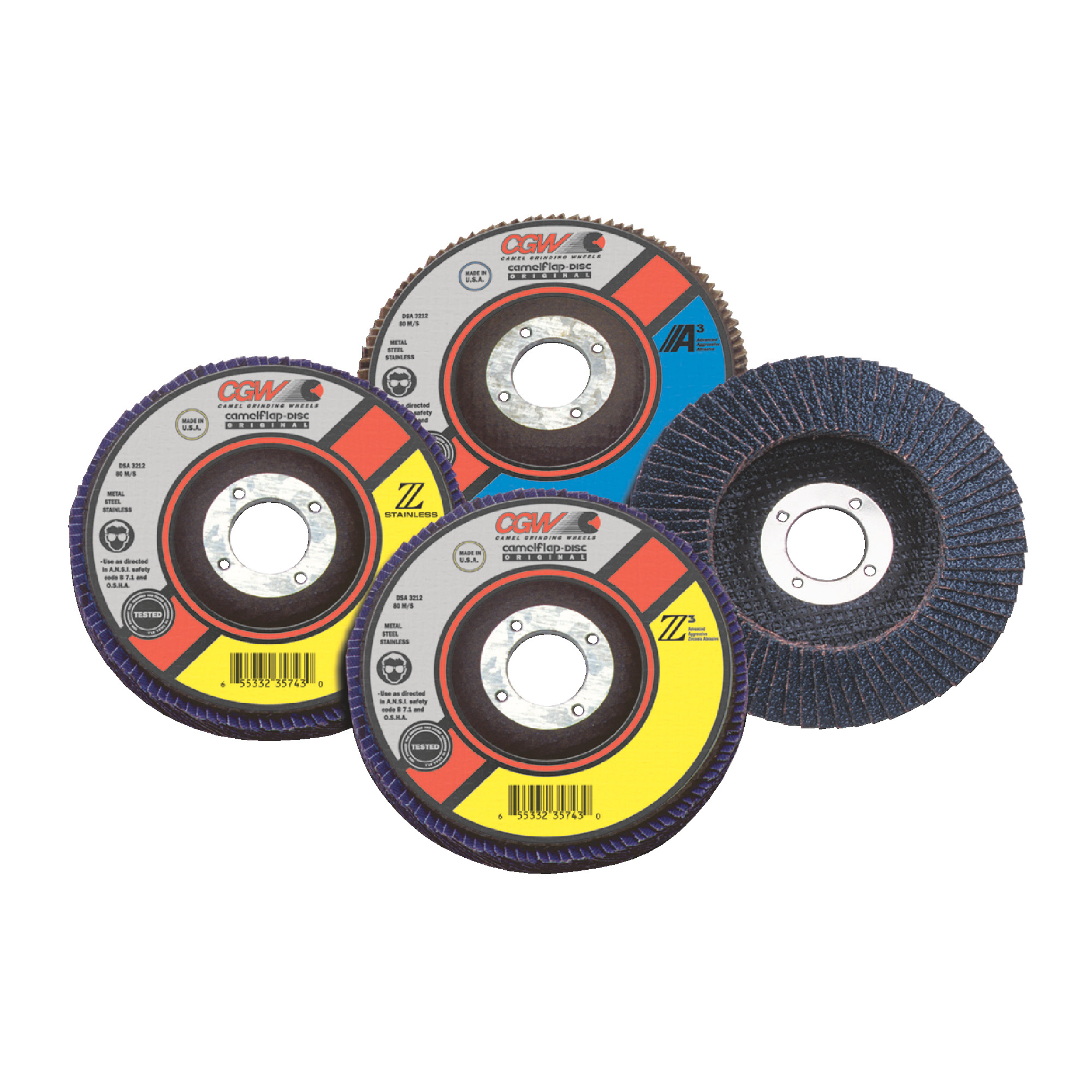 """CAMEL - 7"""" x 5/8-11 T29 ZIRK 40 Grit Flap Discs"""