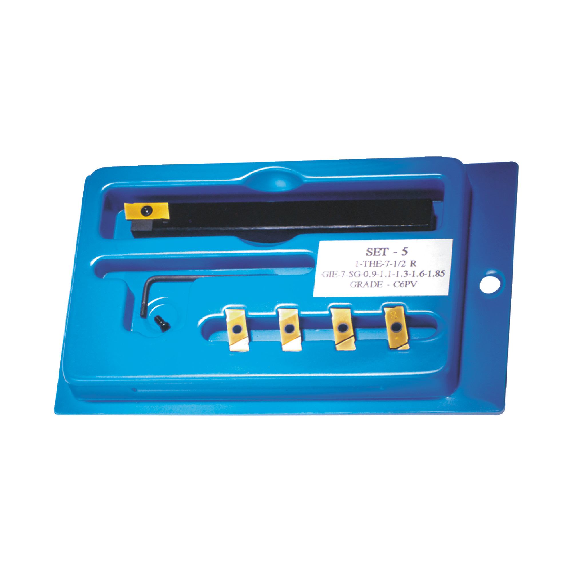 """NIKCOLE -  / 0.500"""" Shank / Set for Grooving, Parting, & Turning / with (5) Different C6-PV Coated Inserts / Cutting wid"""