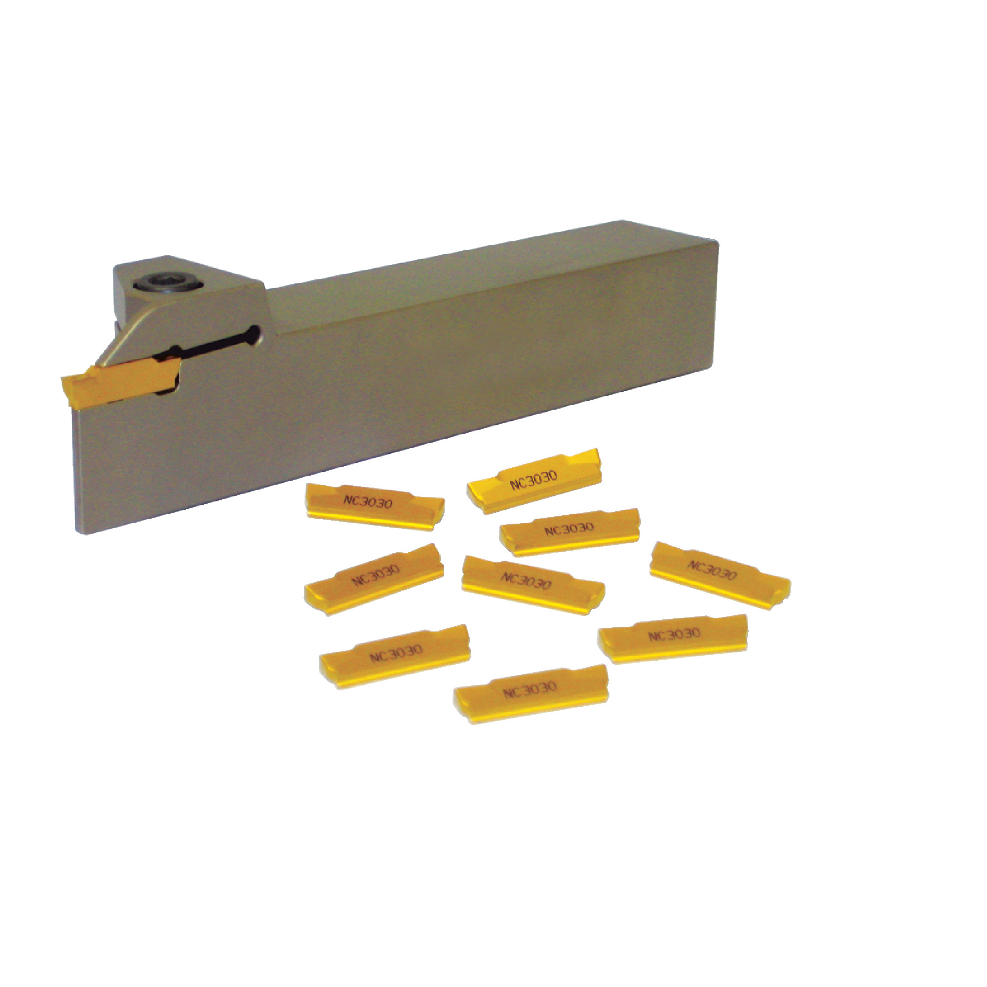 """KORLOY -  / 0.750"""" Shank / Set for Grooving, Parting, & Turning / with (10) MGMN200-M NC3030 (0.079"""" Cutting Width) Inse"""